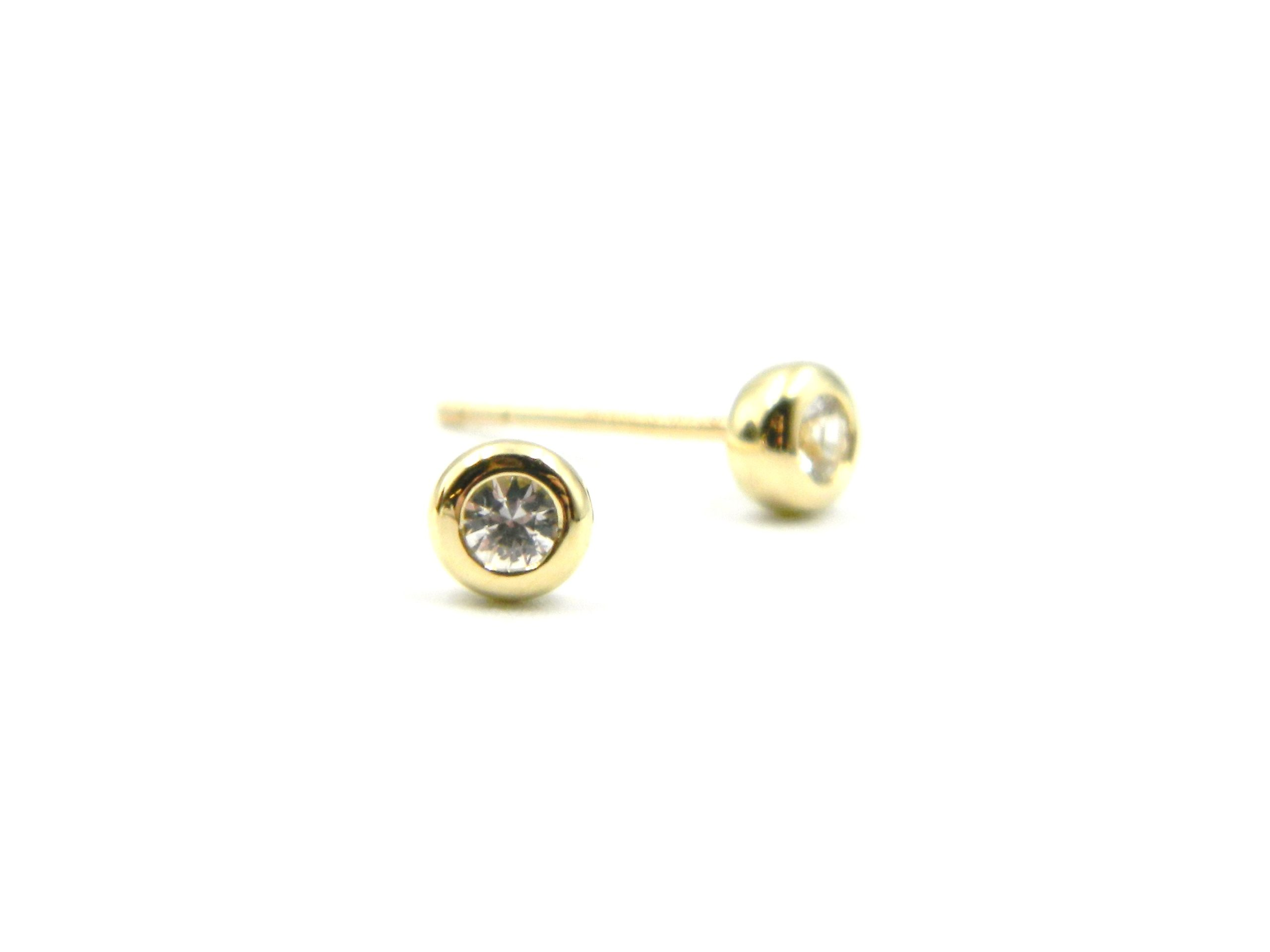 Yellow Gold White Sapphire Post Earrings