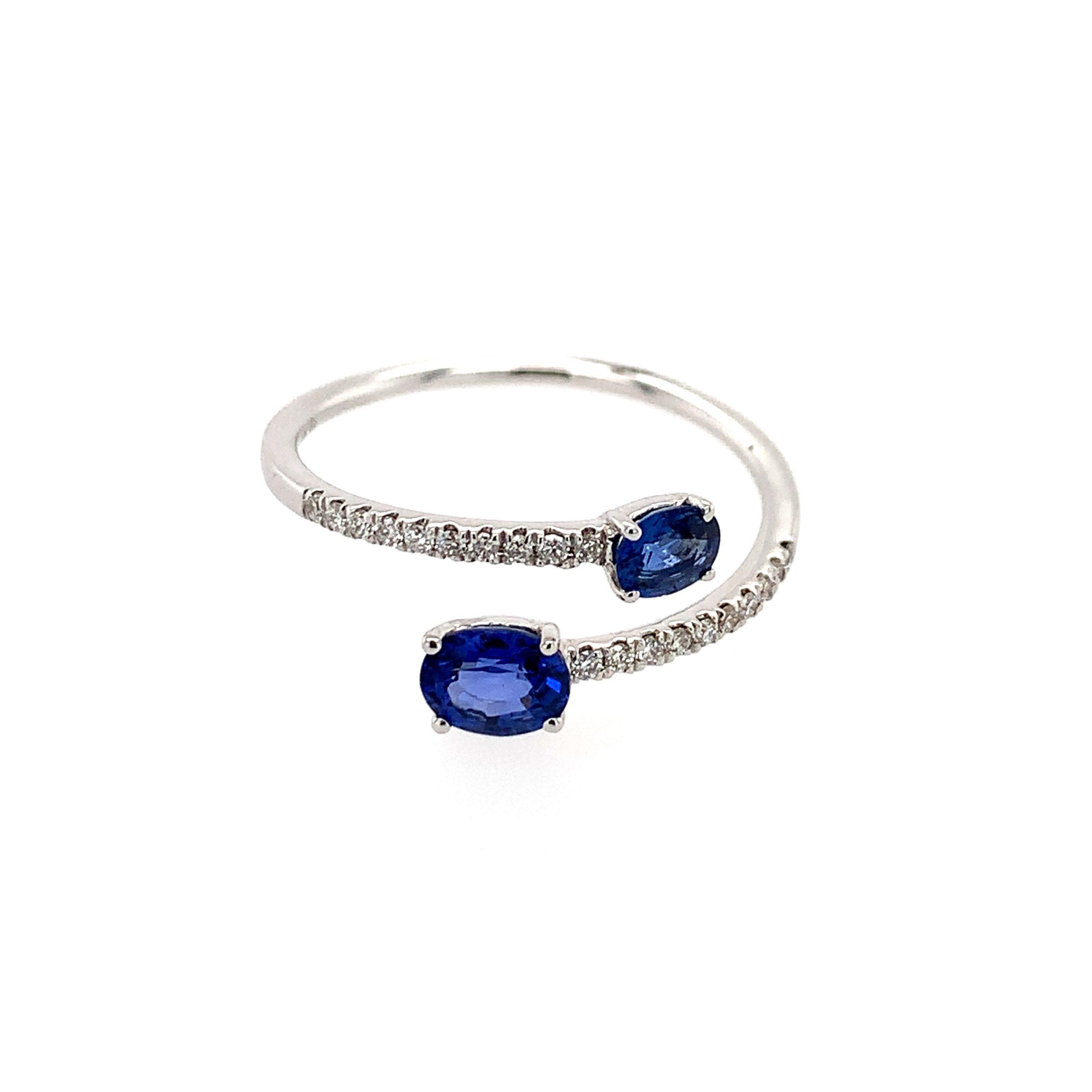 White Gold Sapphire Twist Ring