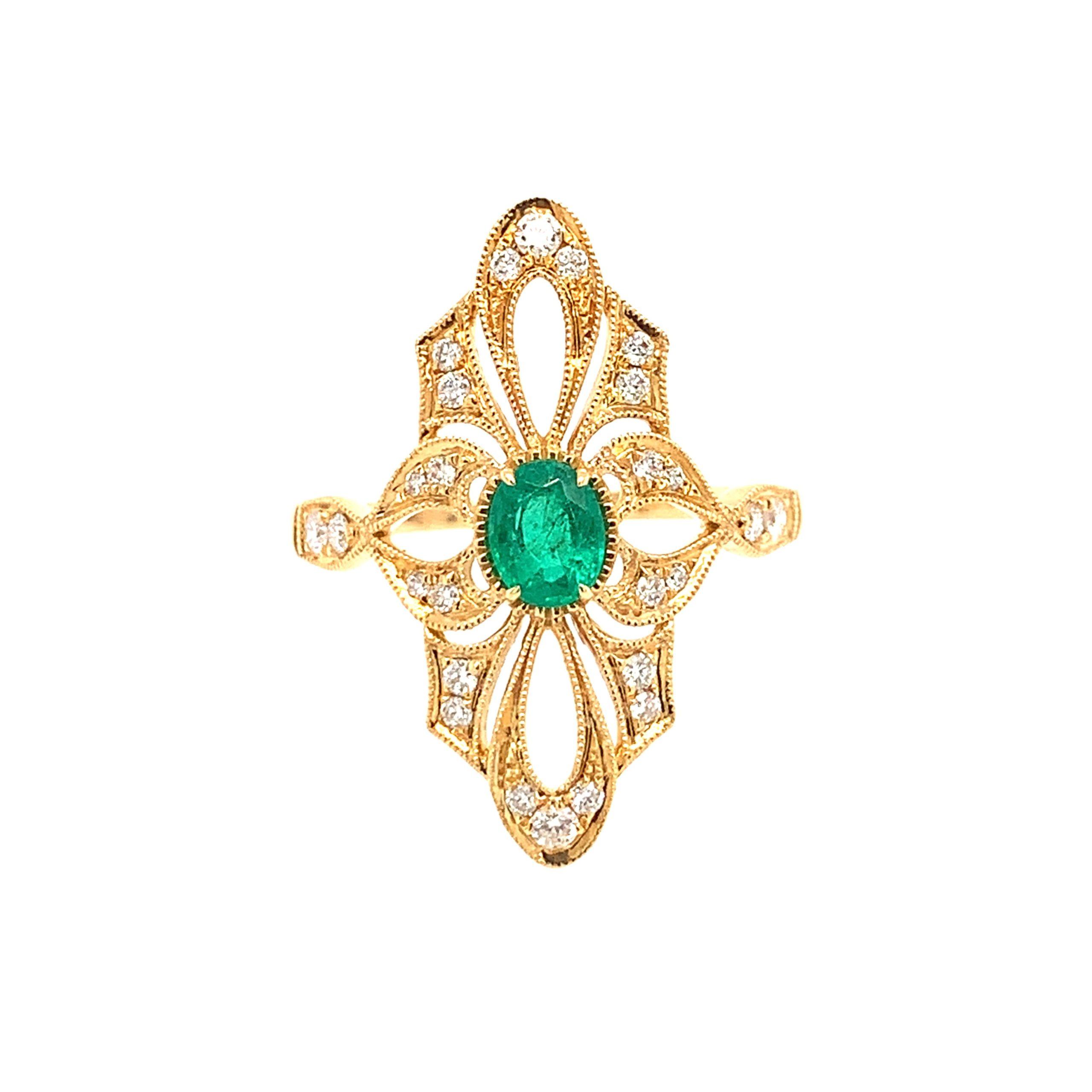 Yellow Gold Emerald Fashion Ring