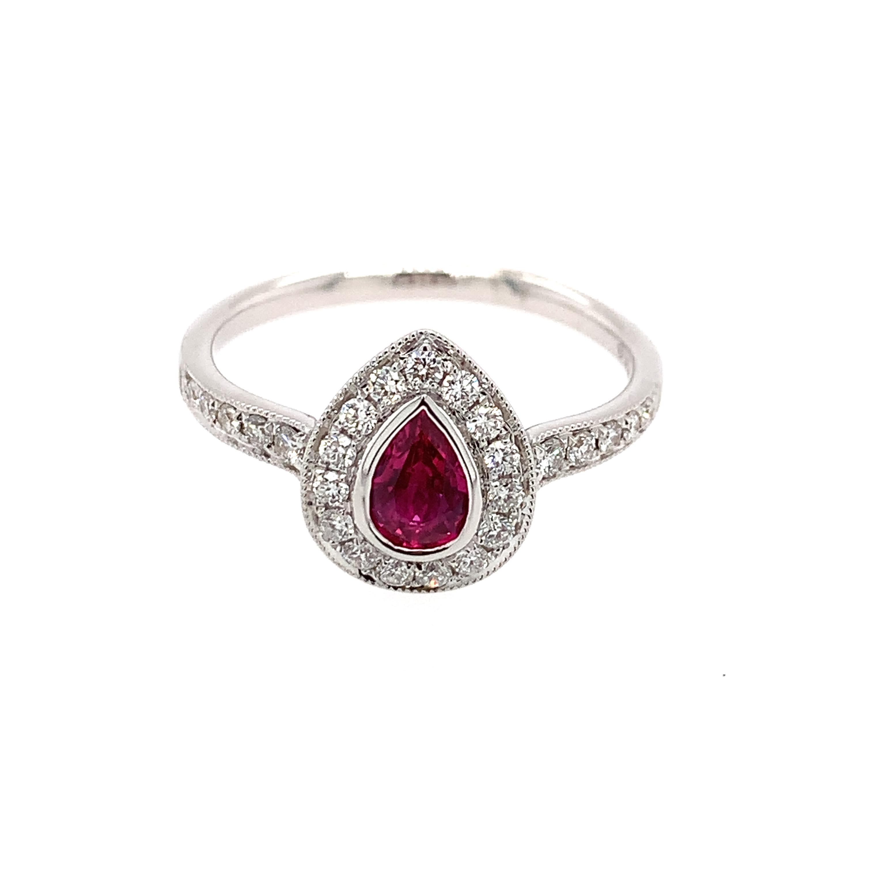 White Gold Ruby Fashion Ring