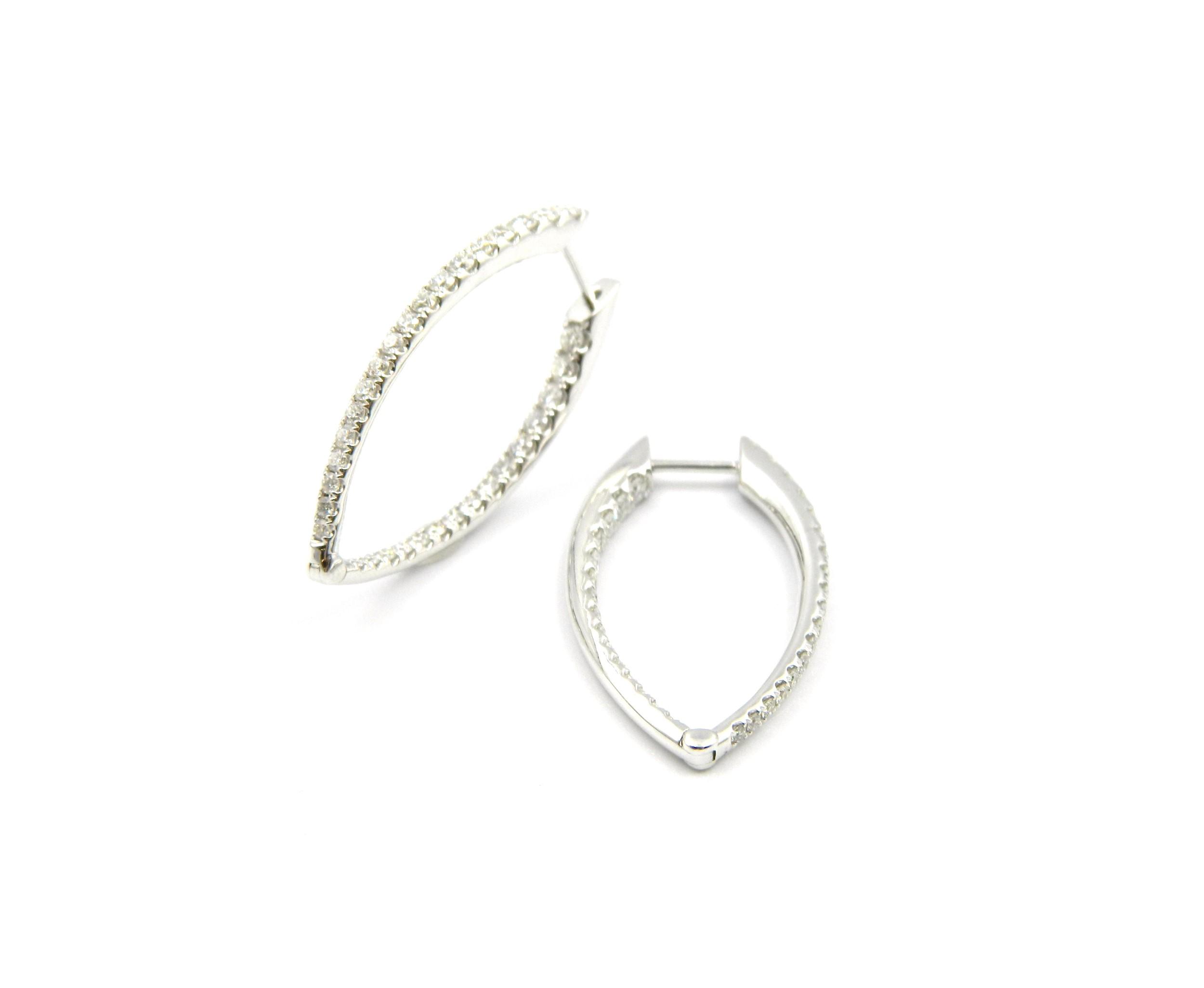 White Gold Elongated Diamond Hoops