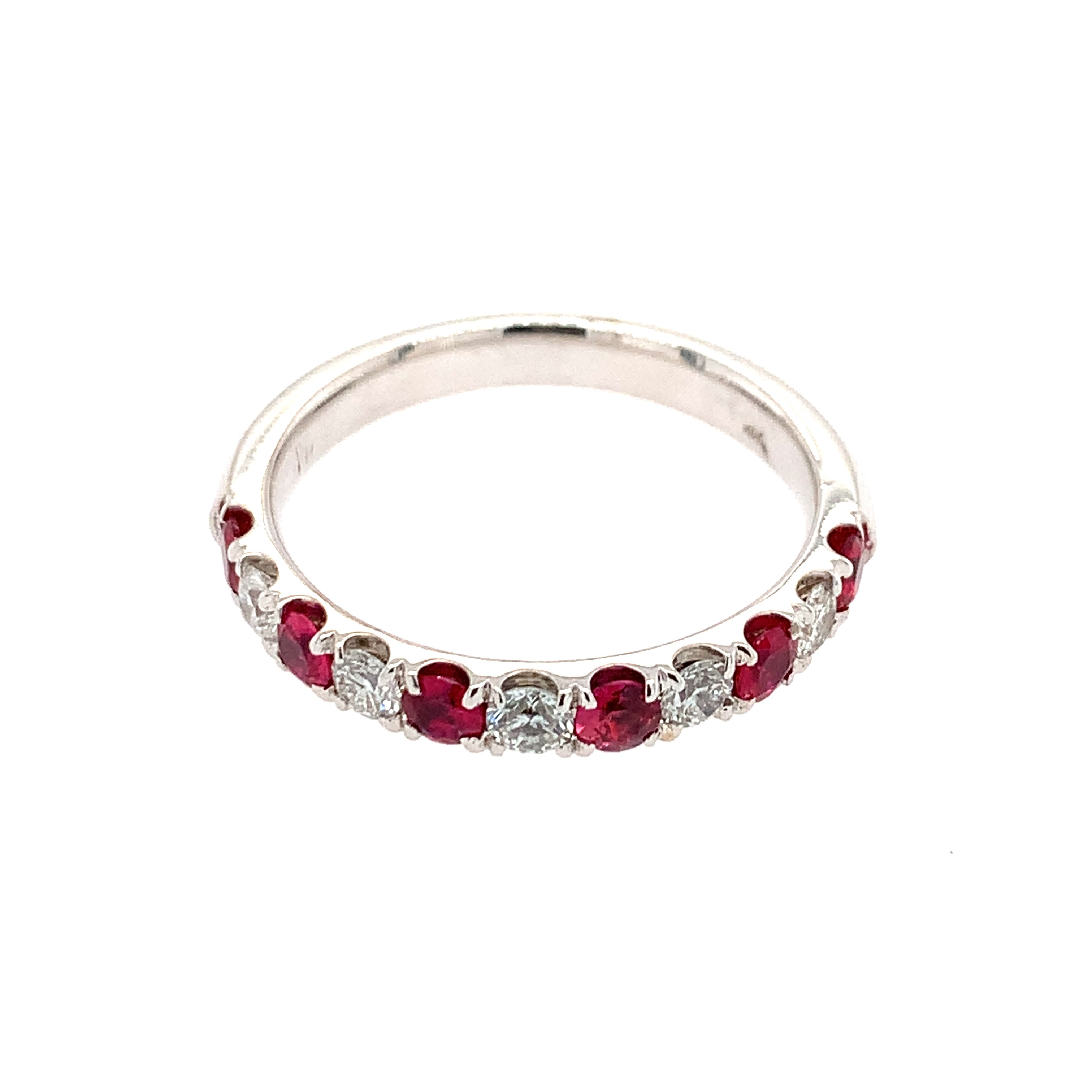 White Gold Ruby Stackable Band