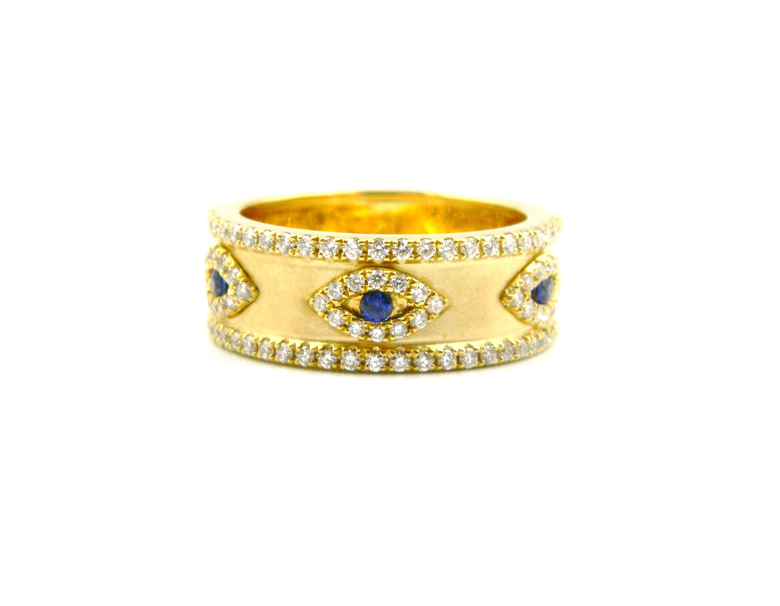 Yellow Gold Sapphire-Eye Ring