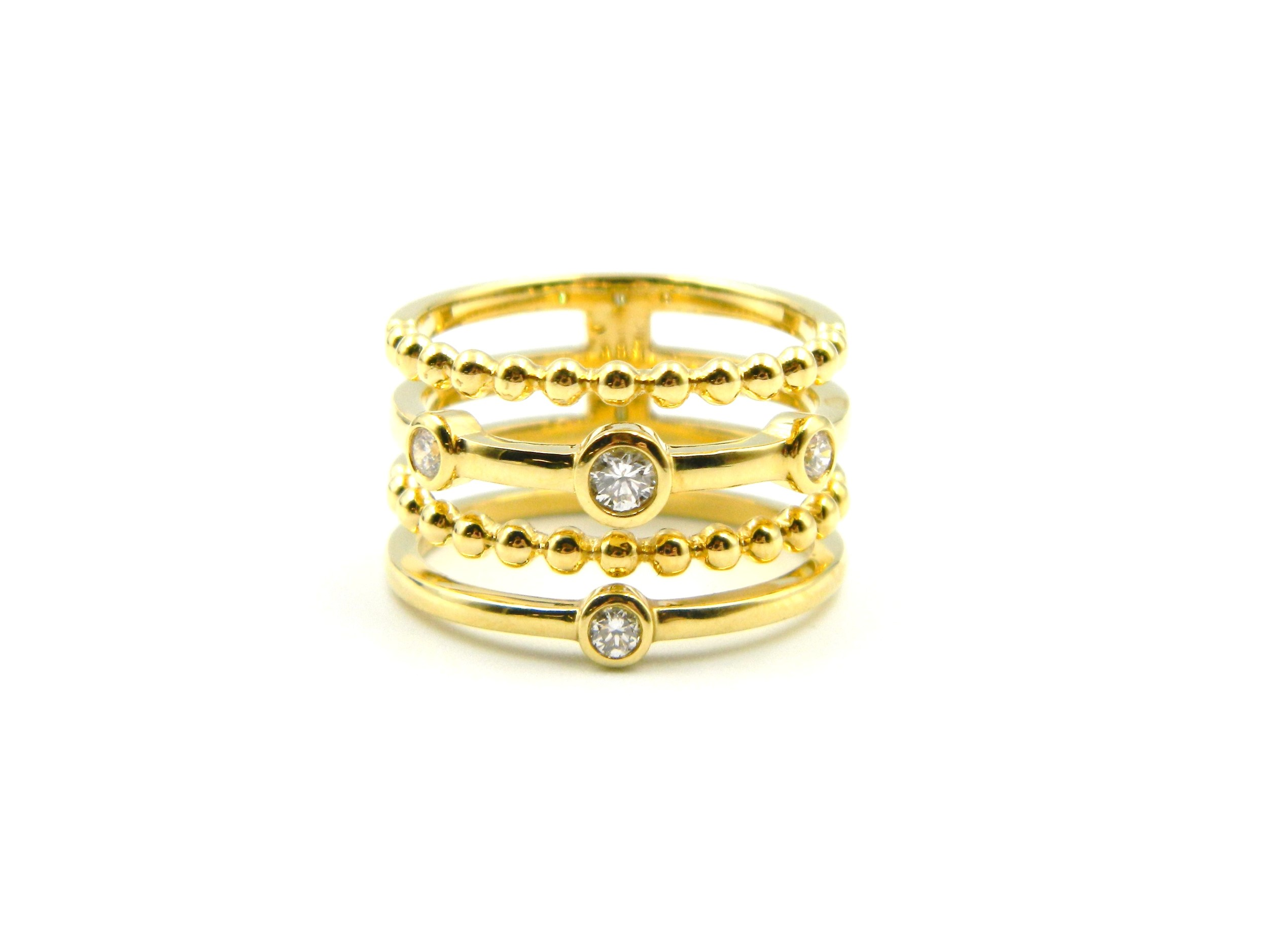 Yellow Gold Stacked Diamond Ring