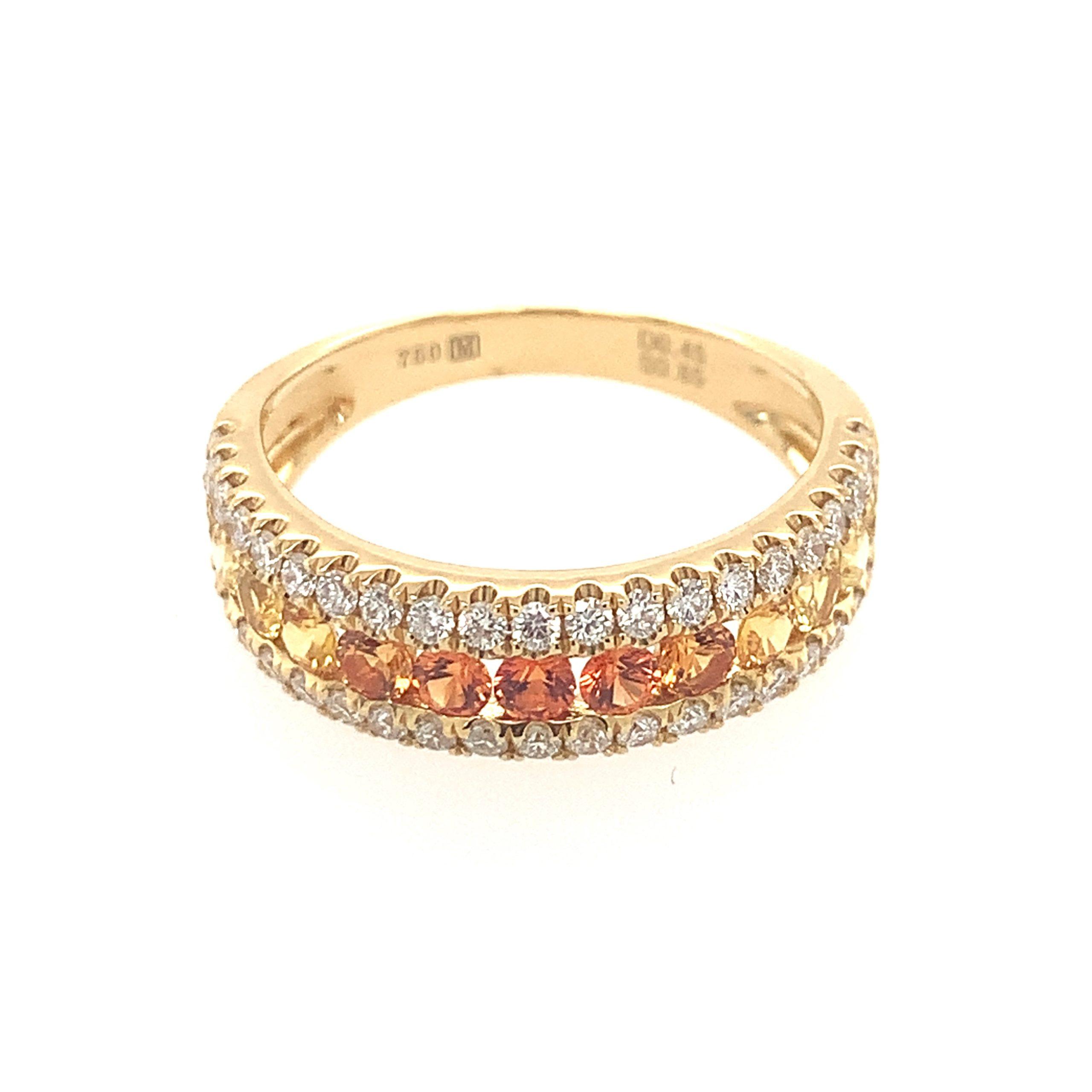 Yellow Gold Rainbow Sapphire Ring
