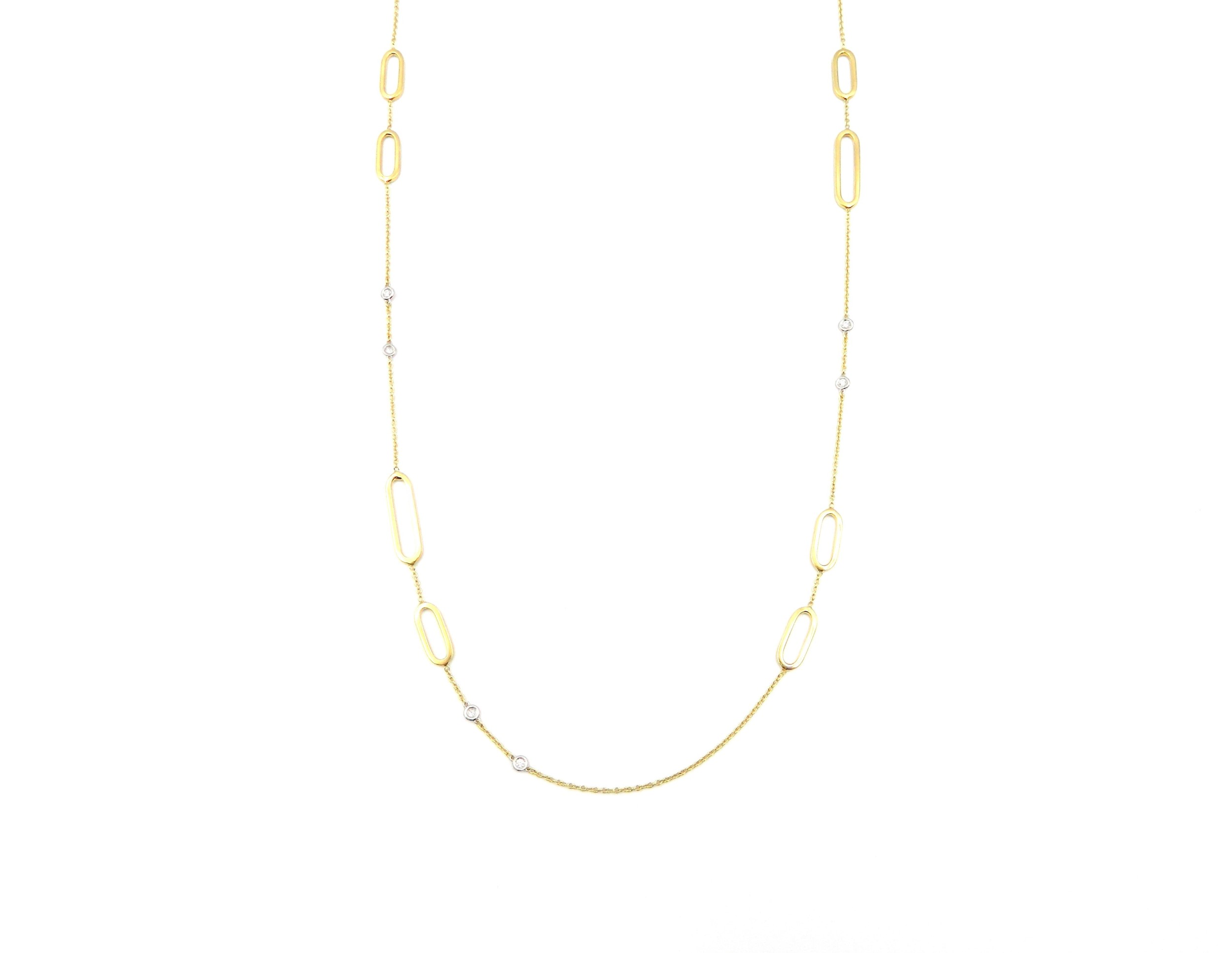 White & Yellow Gold Diamond Paperclip Necklace