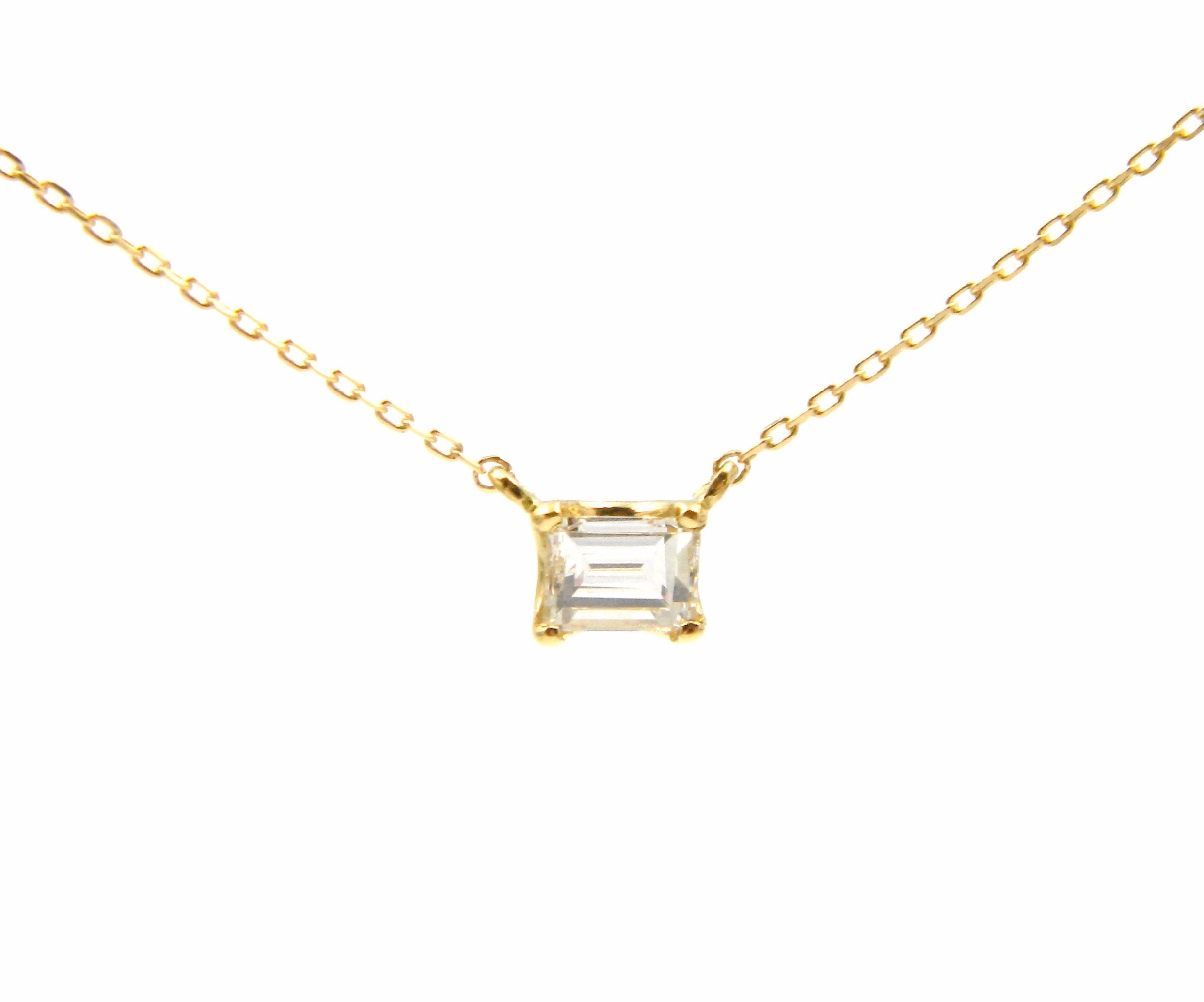Yellow Gold Diamond Solitaire Pendant Necklace
