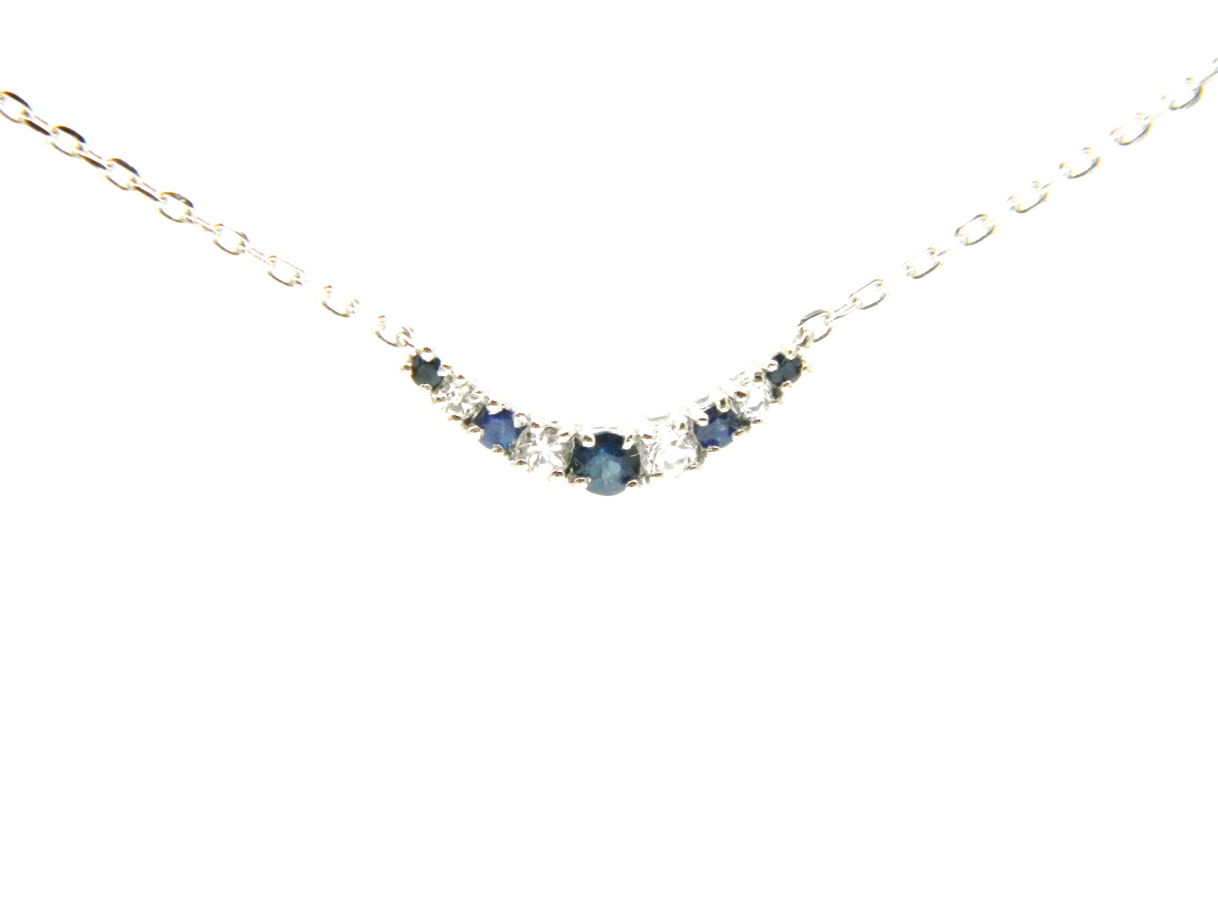 Sterling Silver Sapphire Bar Pendant Necklace