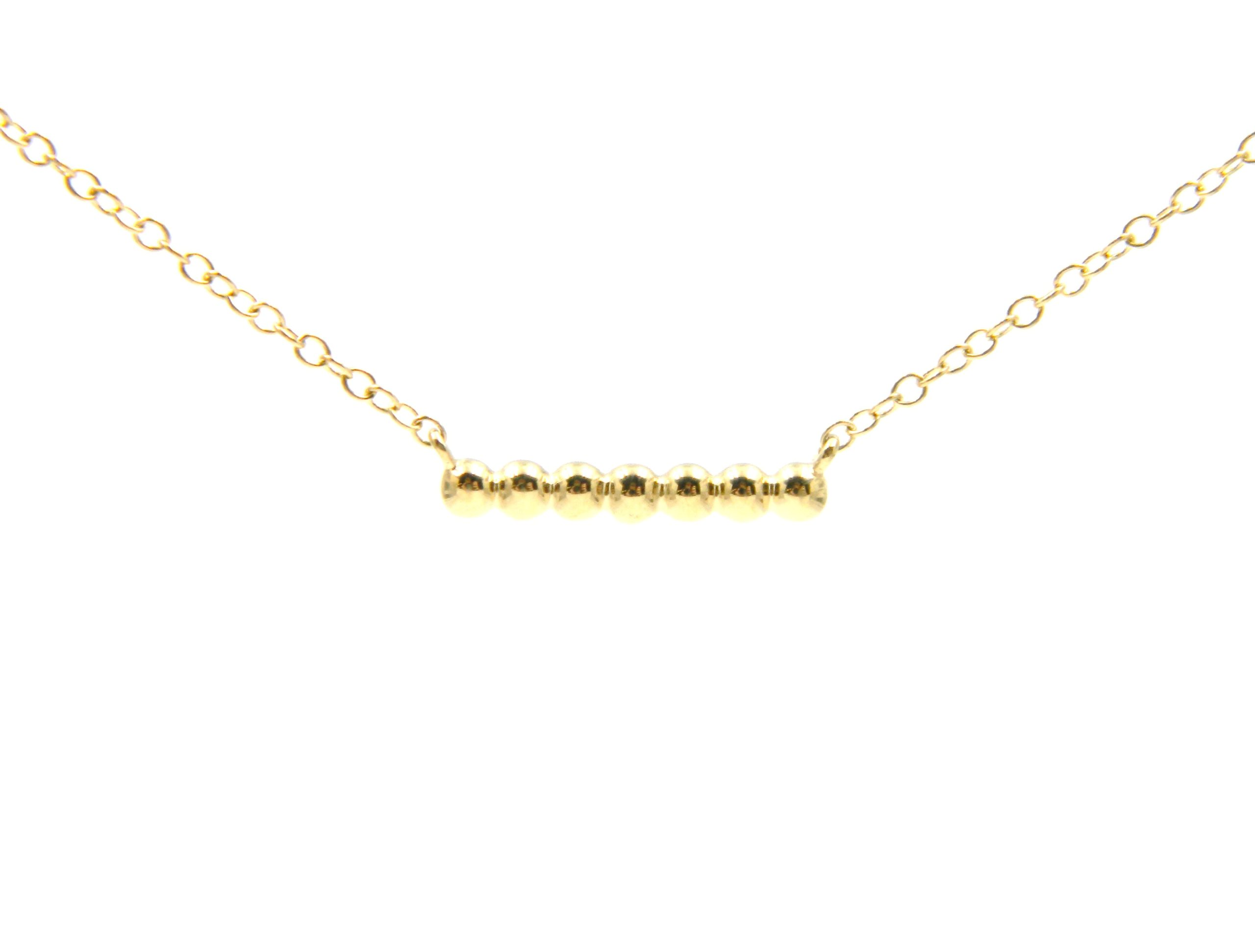 Yellow Gold Beaded Bar Necklace