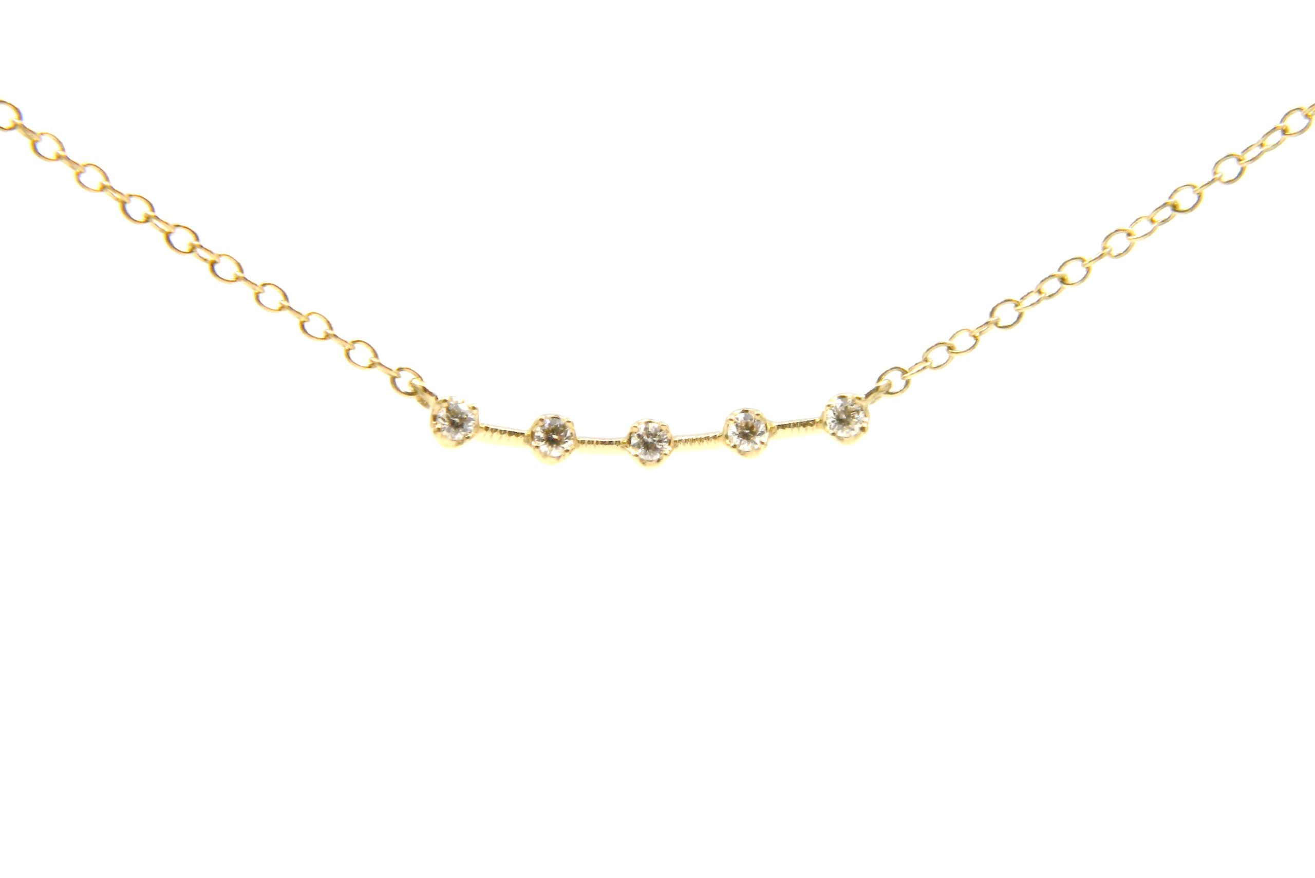 Yellow Gold Curved Diamond Bar Necklace