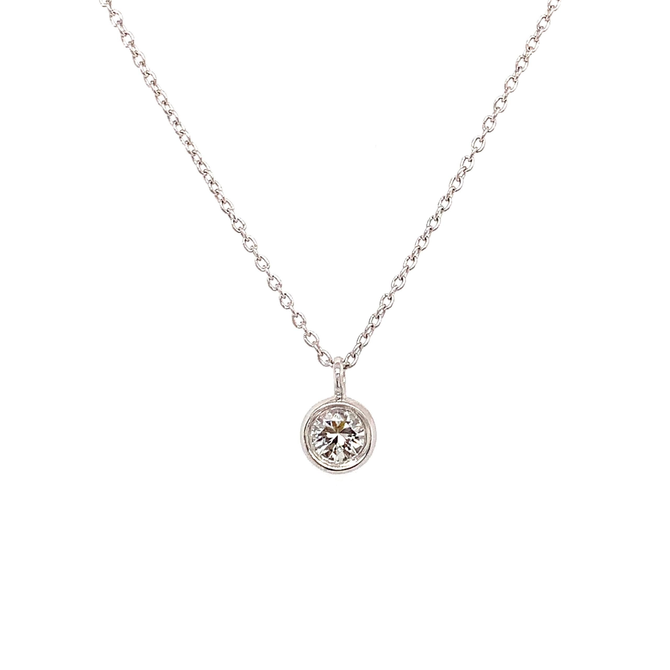 White Gold White Sapphire Pendant Necklace
