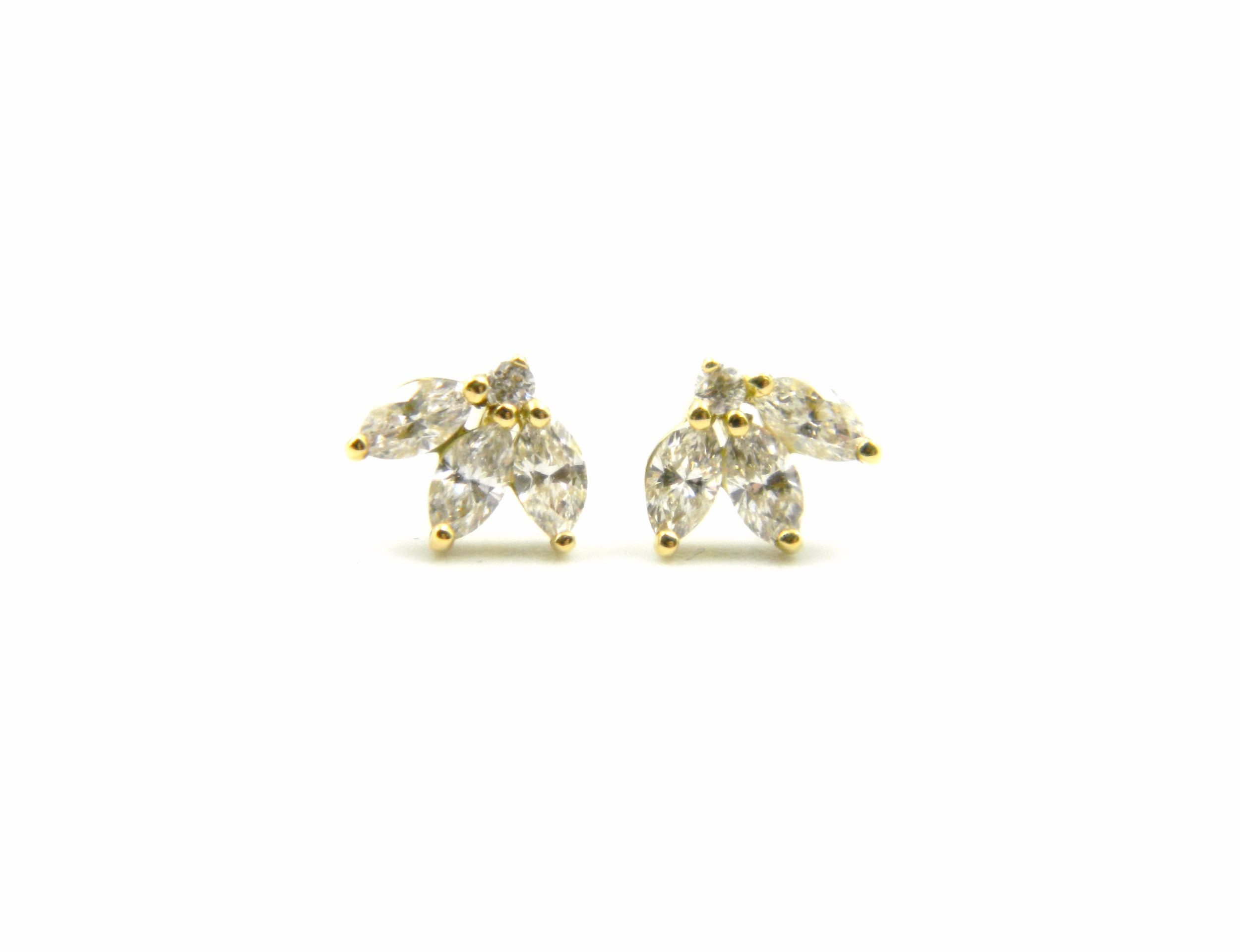 Yellow Gold Tri-Marquise Diamond Earrings