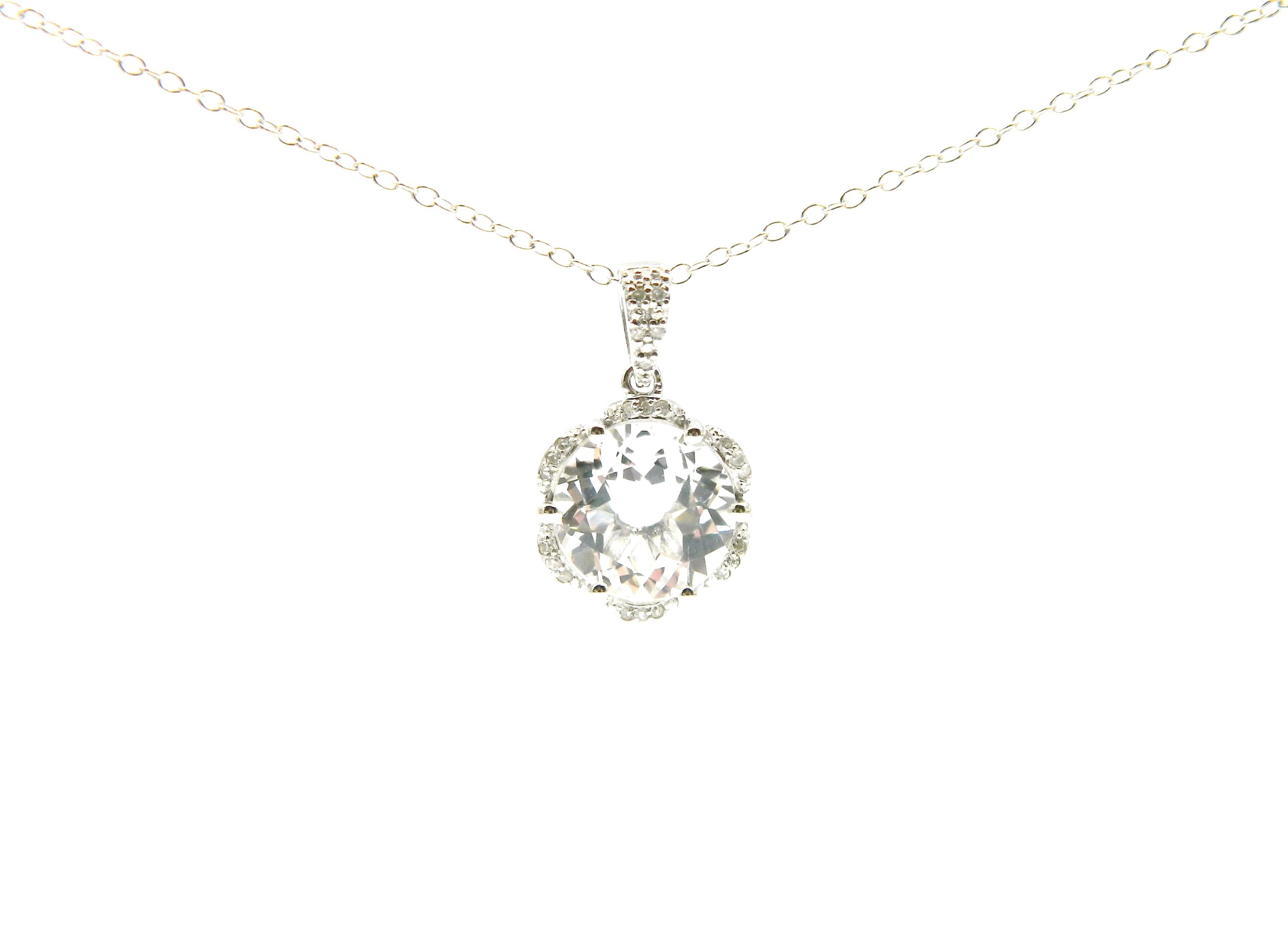 Sterling Silver White Topaz Pendant Necklace