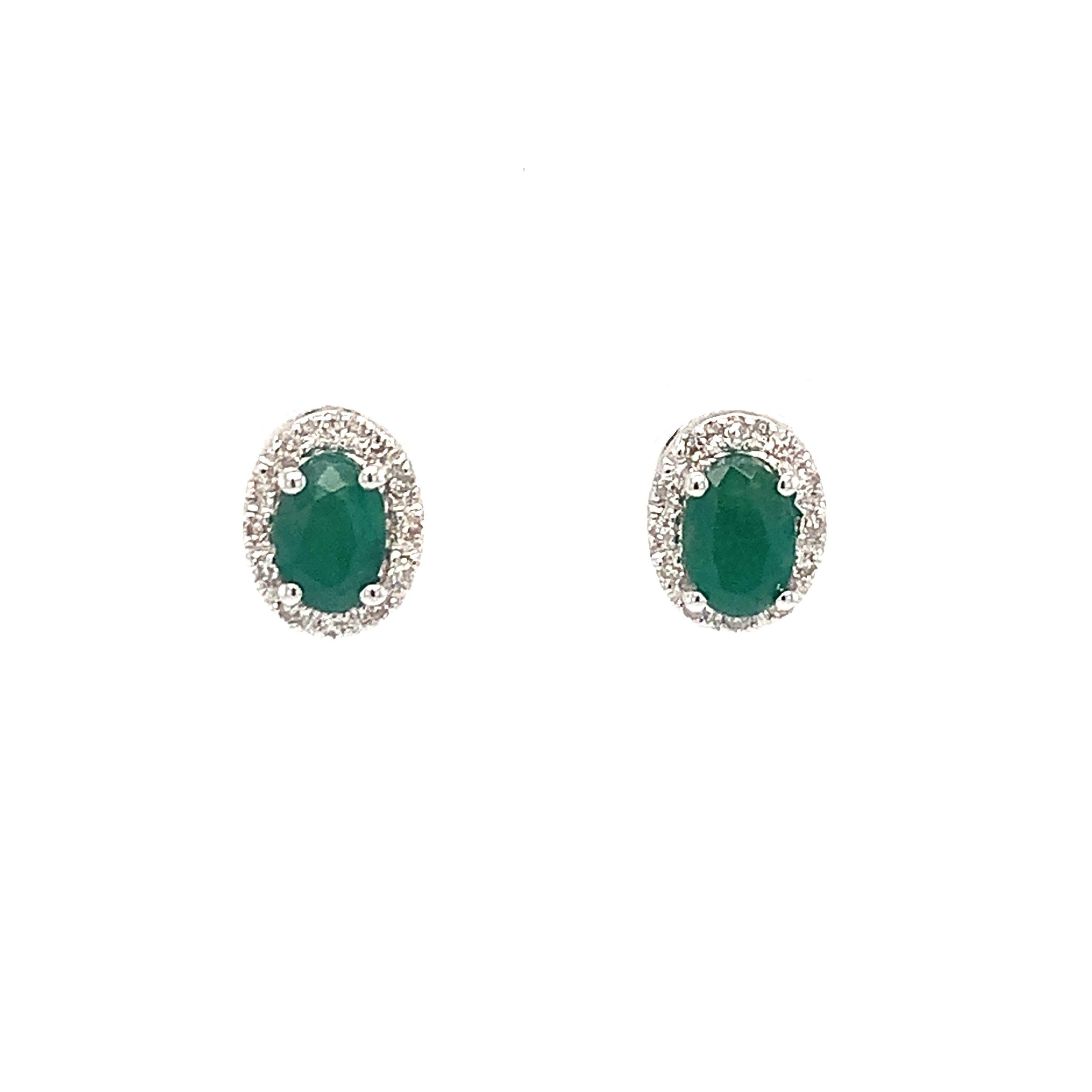 White Gold Emerald Earrings