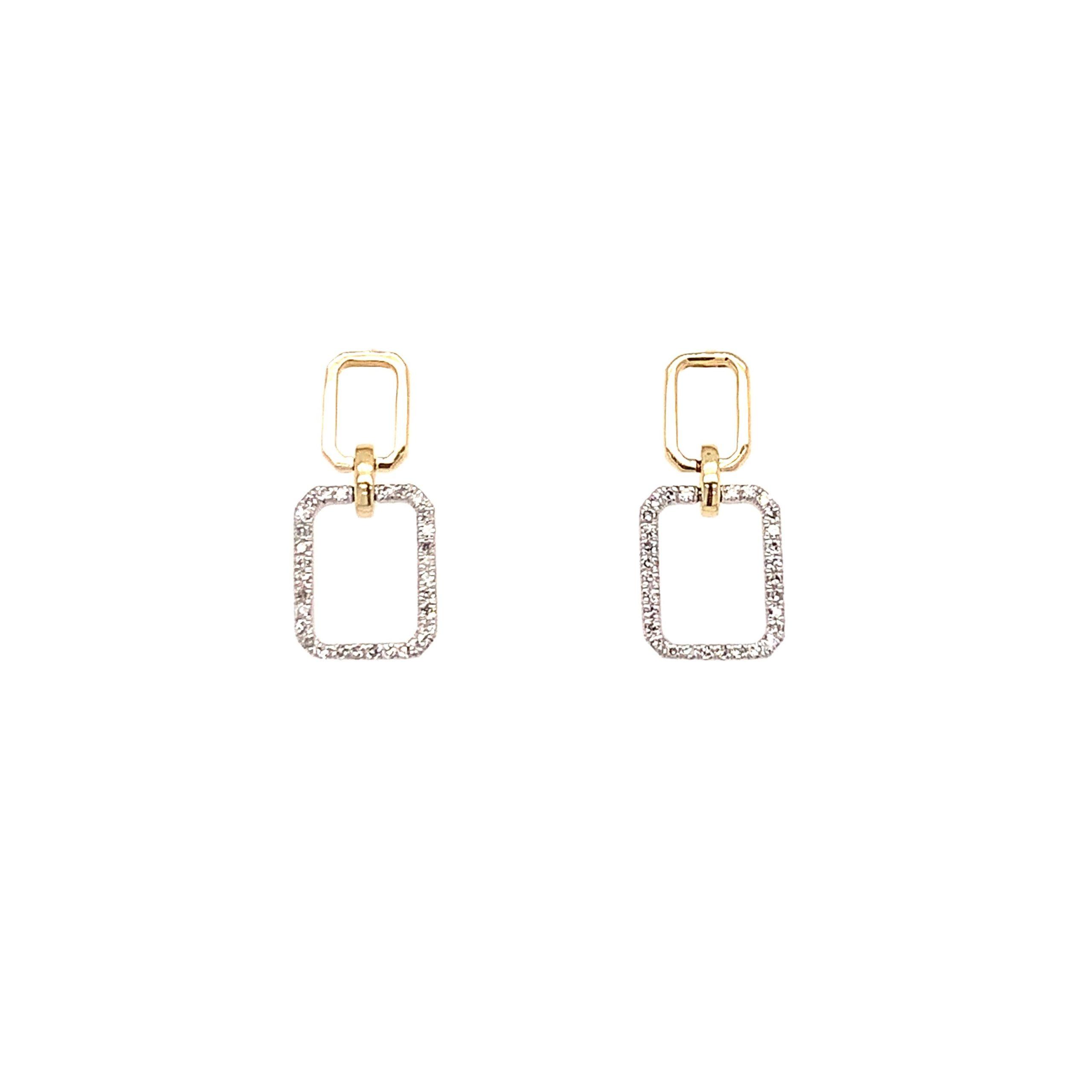 Two-Tone Diamond Paperclip Earrings