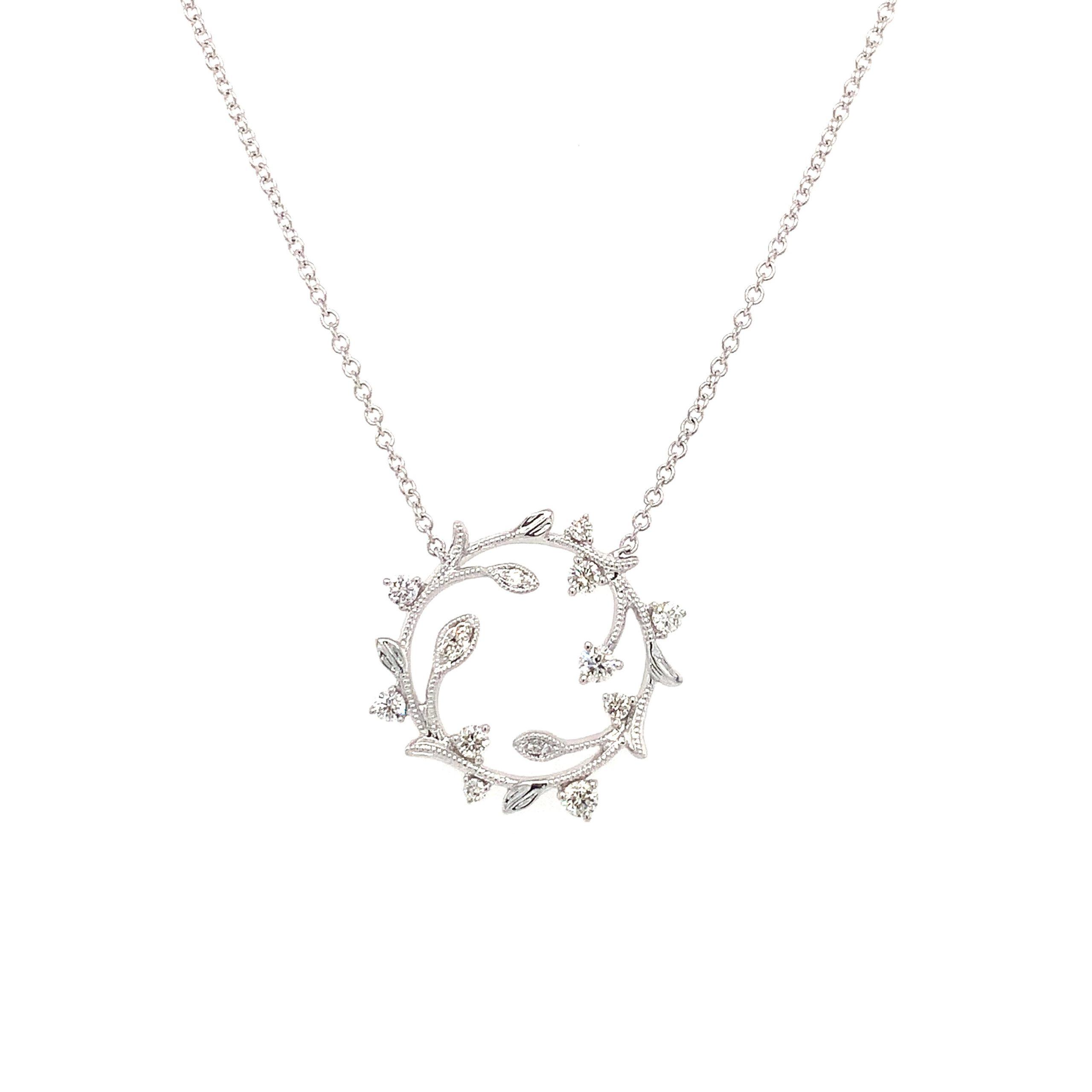 White Gold Diamond Wreath Pendant Necklace