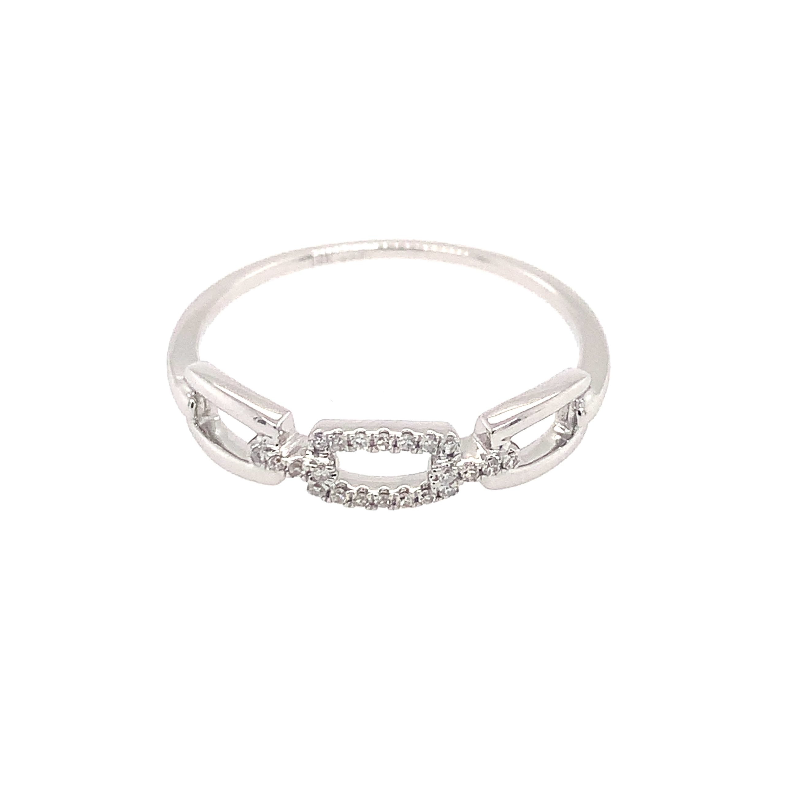 White Gold Diamond Paperclip Ring