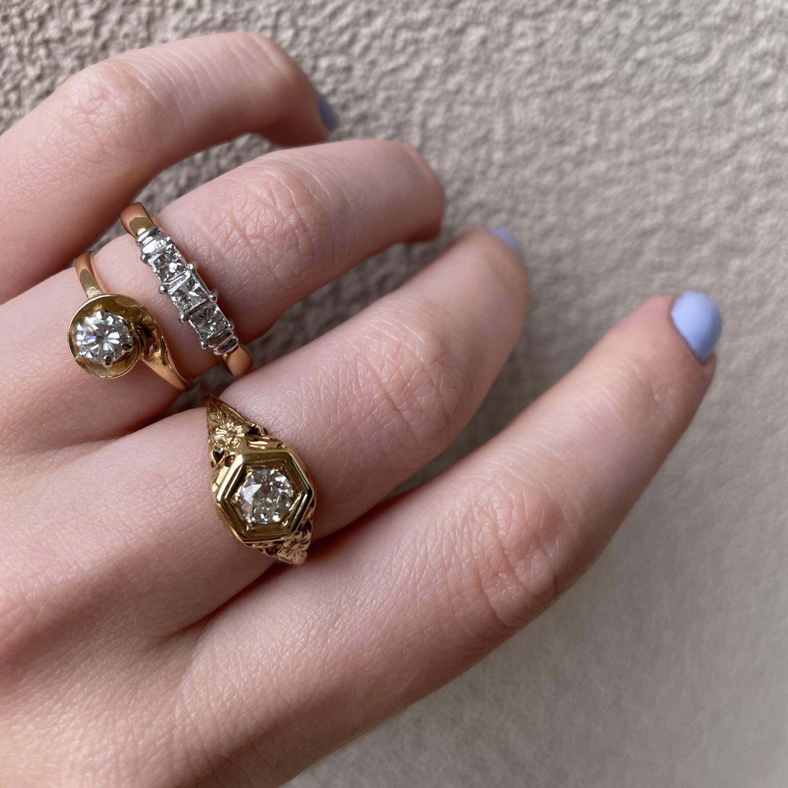 Estate Piece - Yellow Gold Diamond Swirl Ring