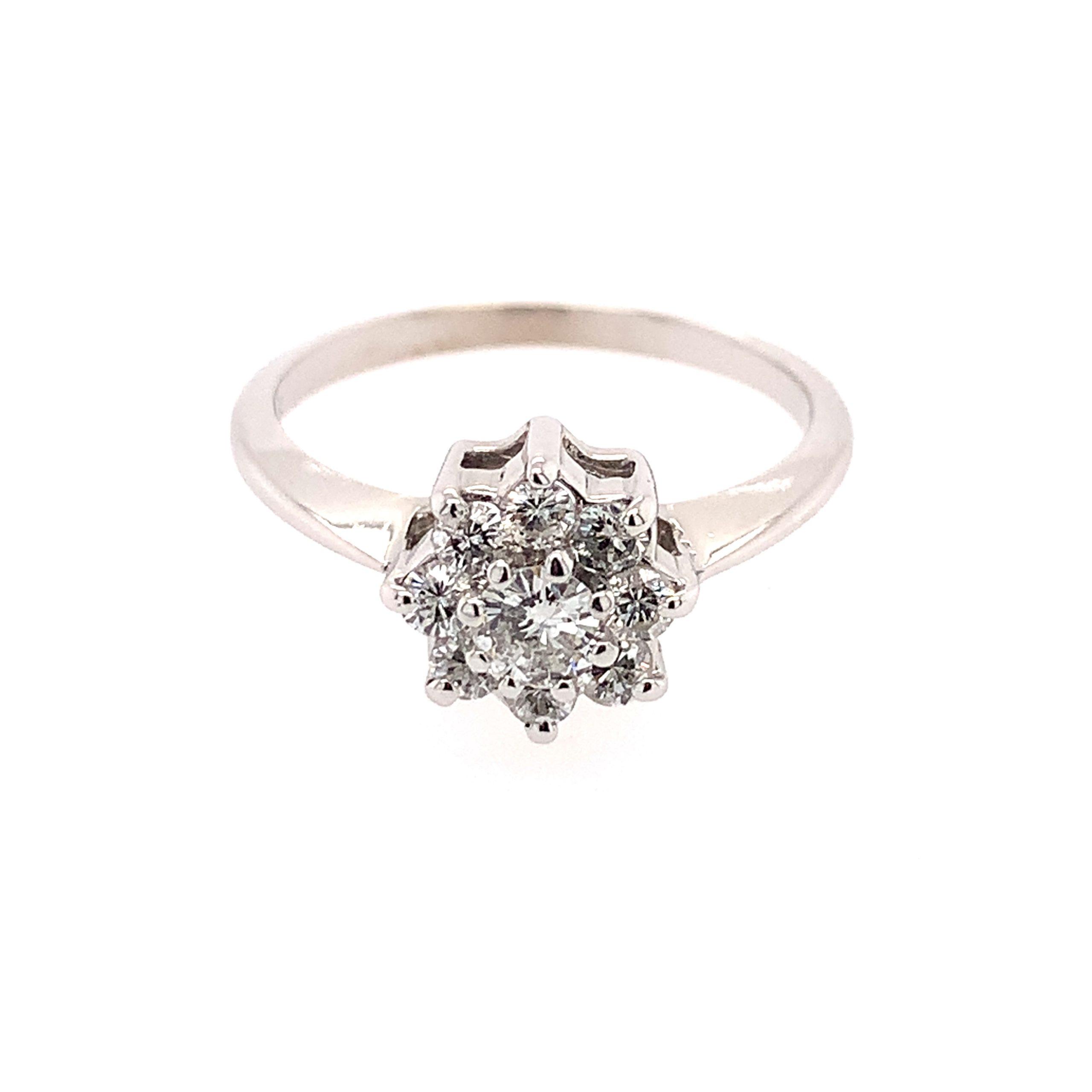 Estate Piece - White Gold Diamond Floral Ring