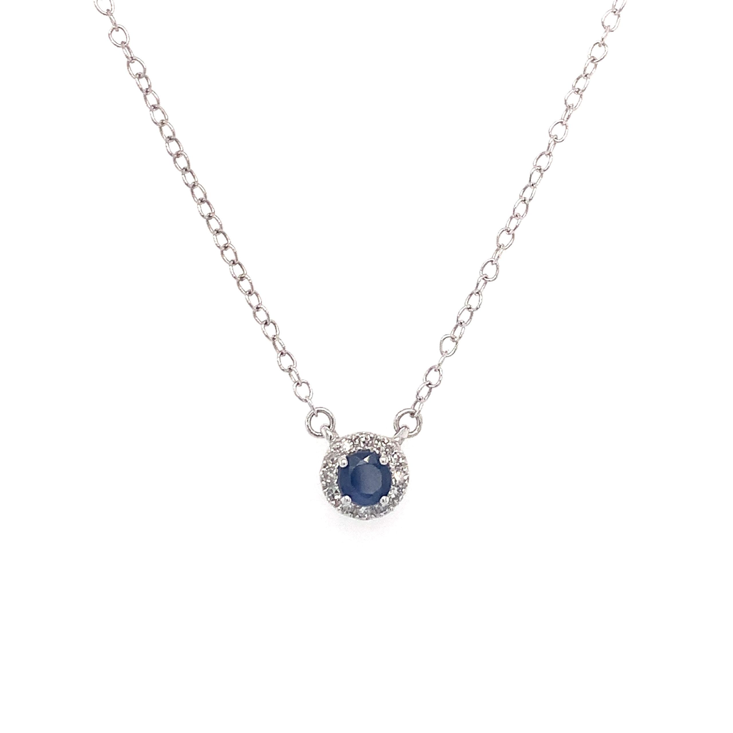 White Gold Sapphire Pendant Necklace