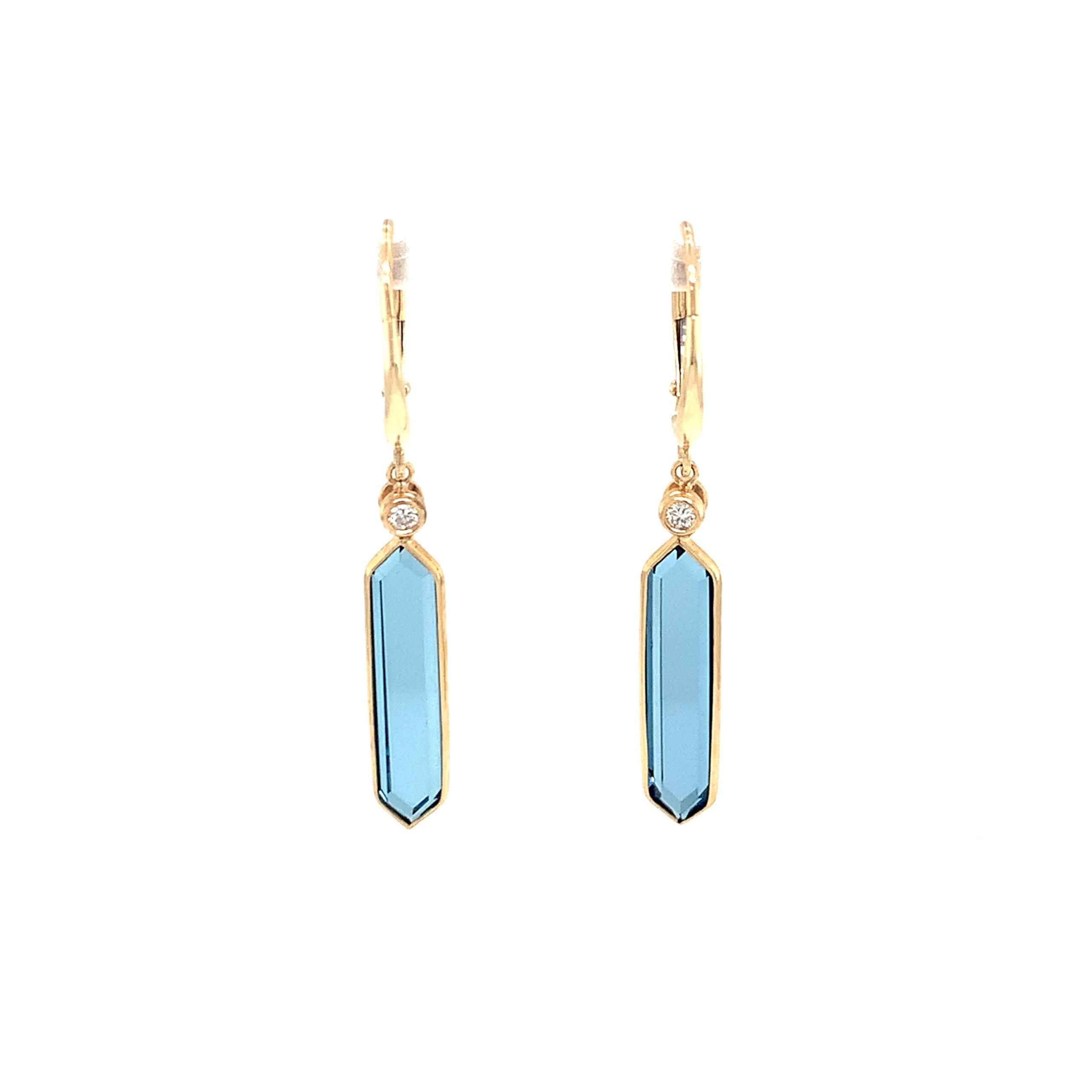 Yellow Gold Hexagonal Blue Topaz Earrings