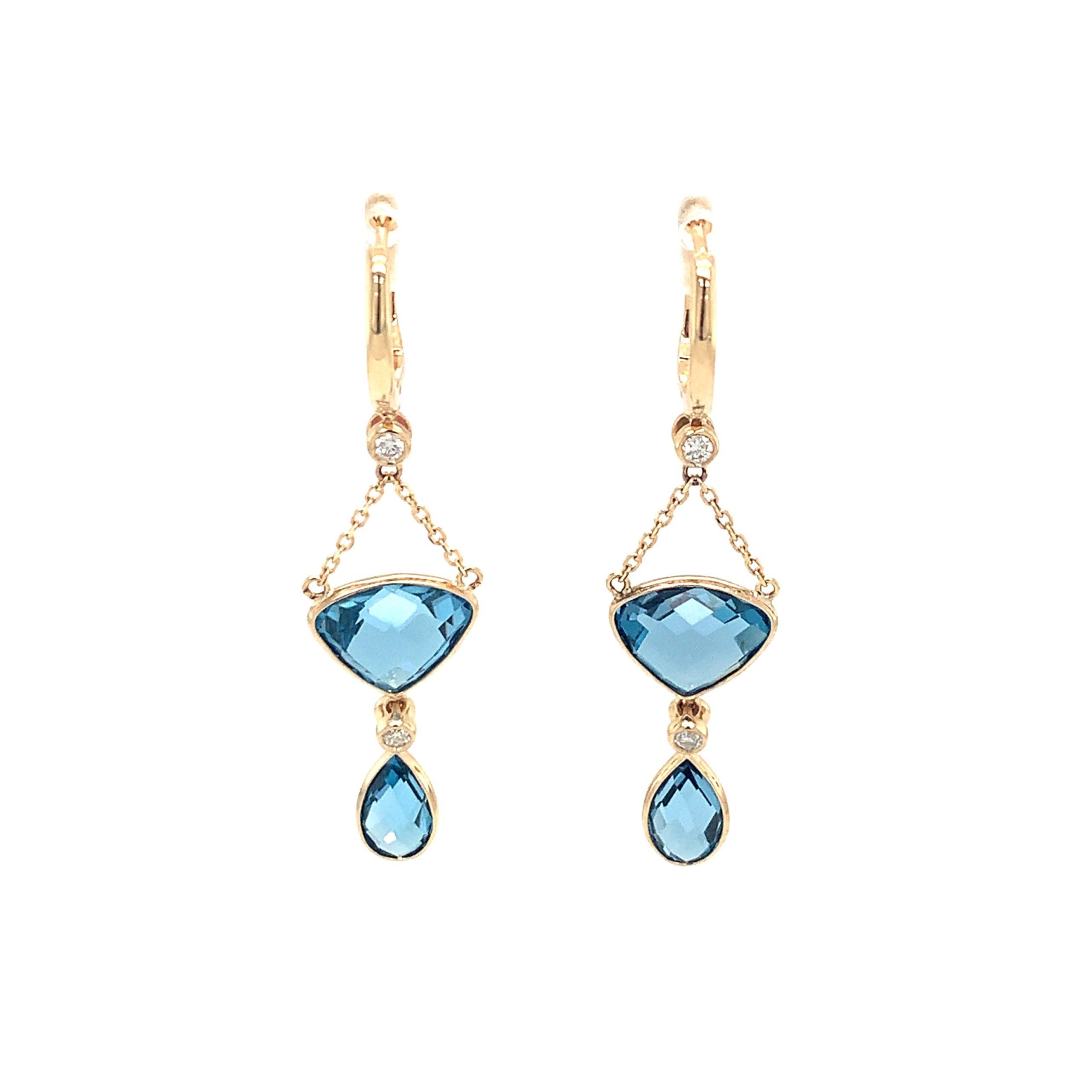 Yellow Gold Blue Topaz Dangle earrings