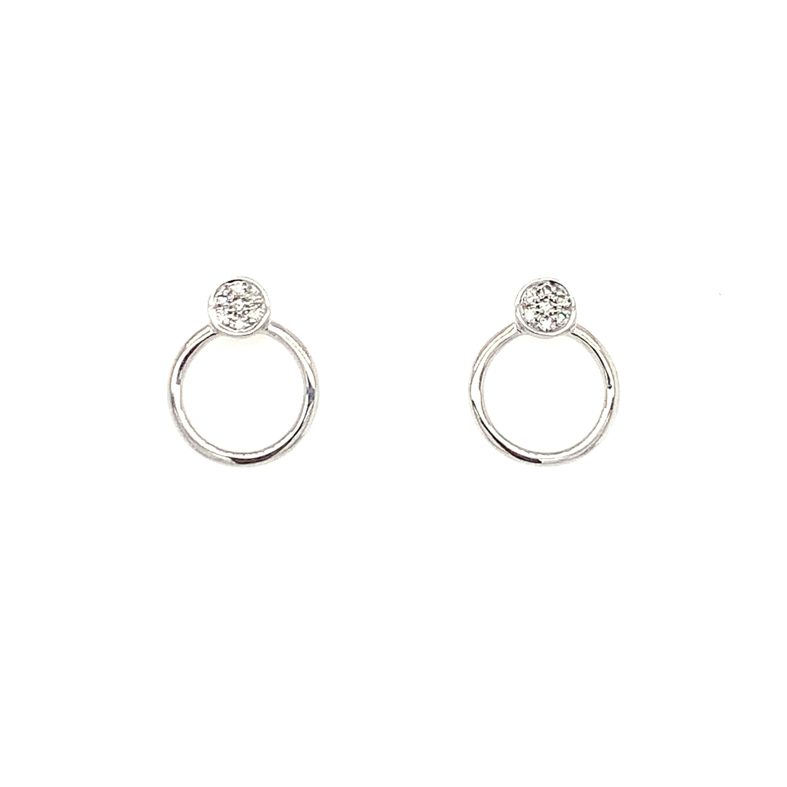 White Gold Open-Circle Diamond Earrings