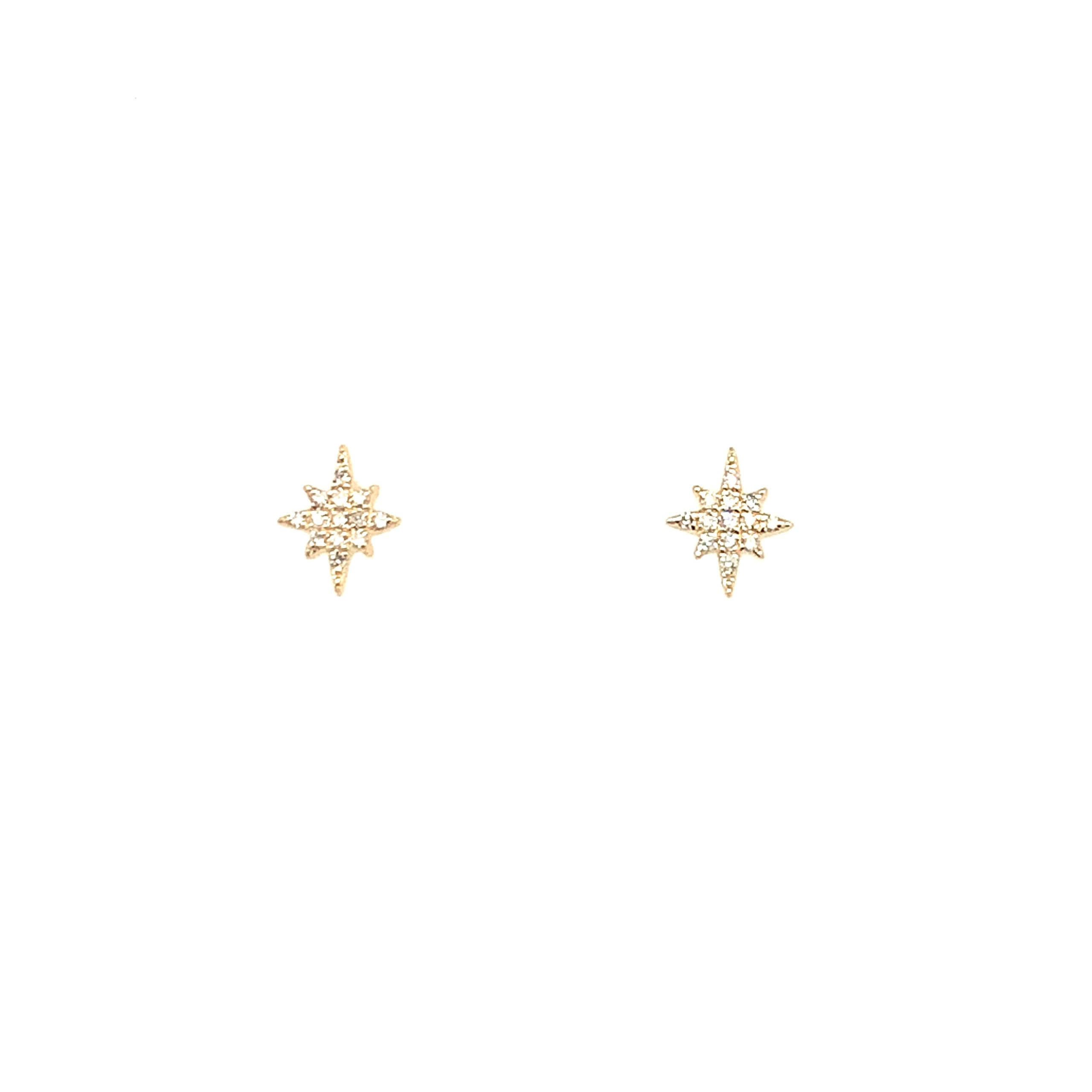 Yellow Gold Diamond Sunburst Earrings