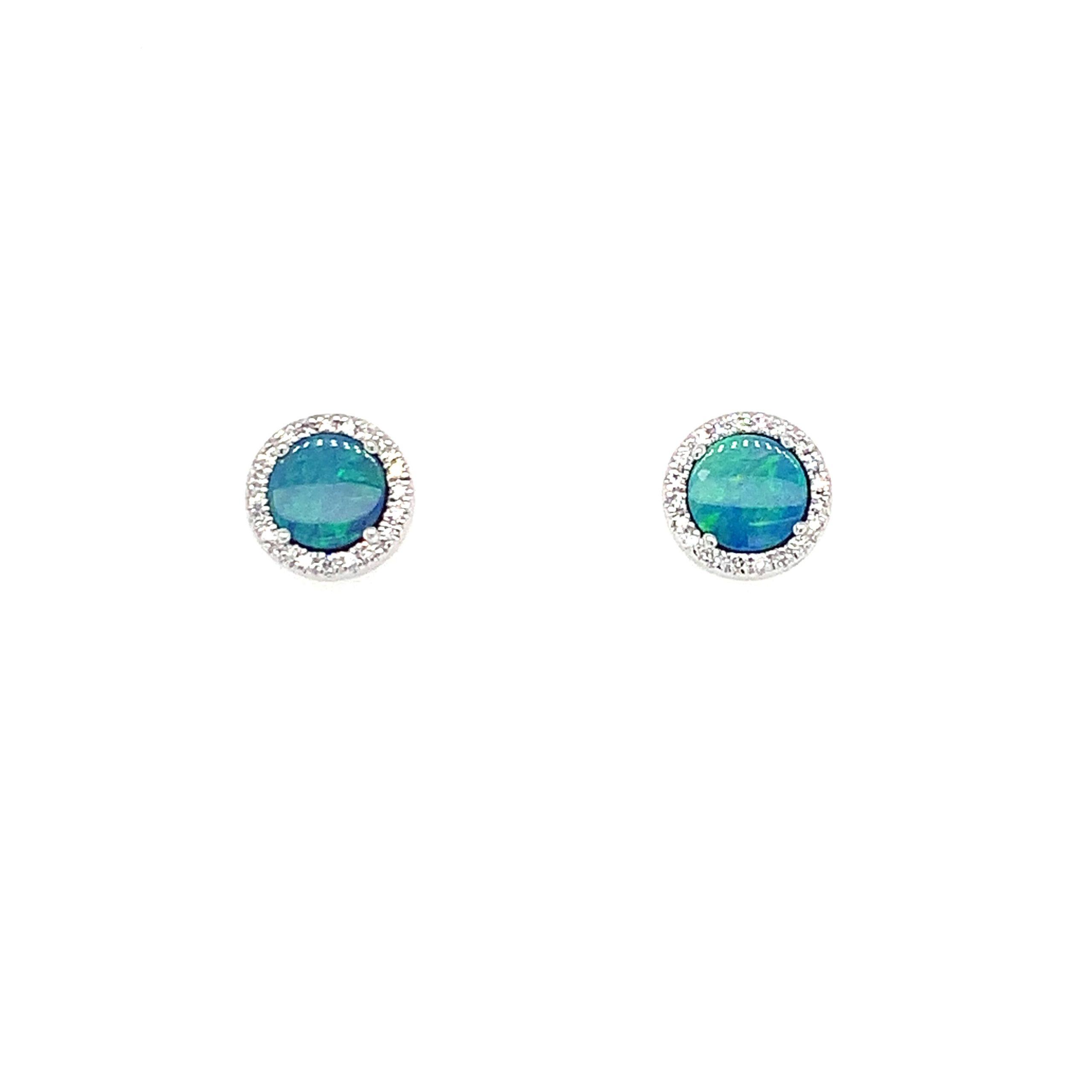 White Gold Opal Earrings