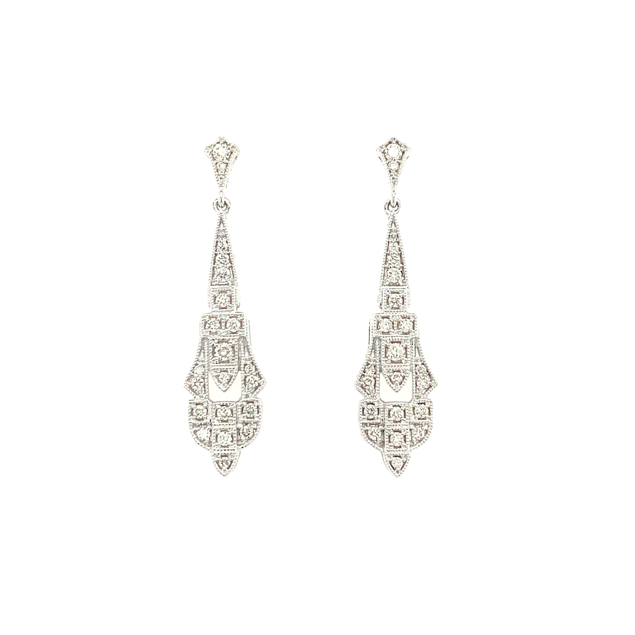 White Gold Diamond Art Deco Earrings