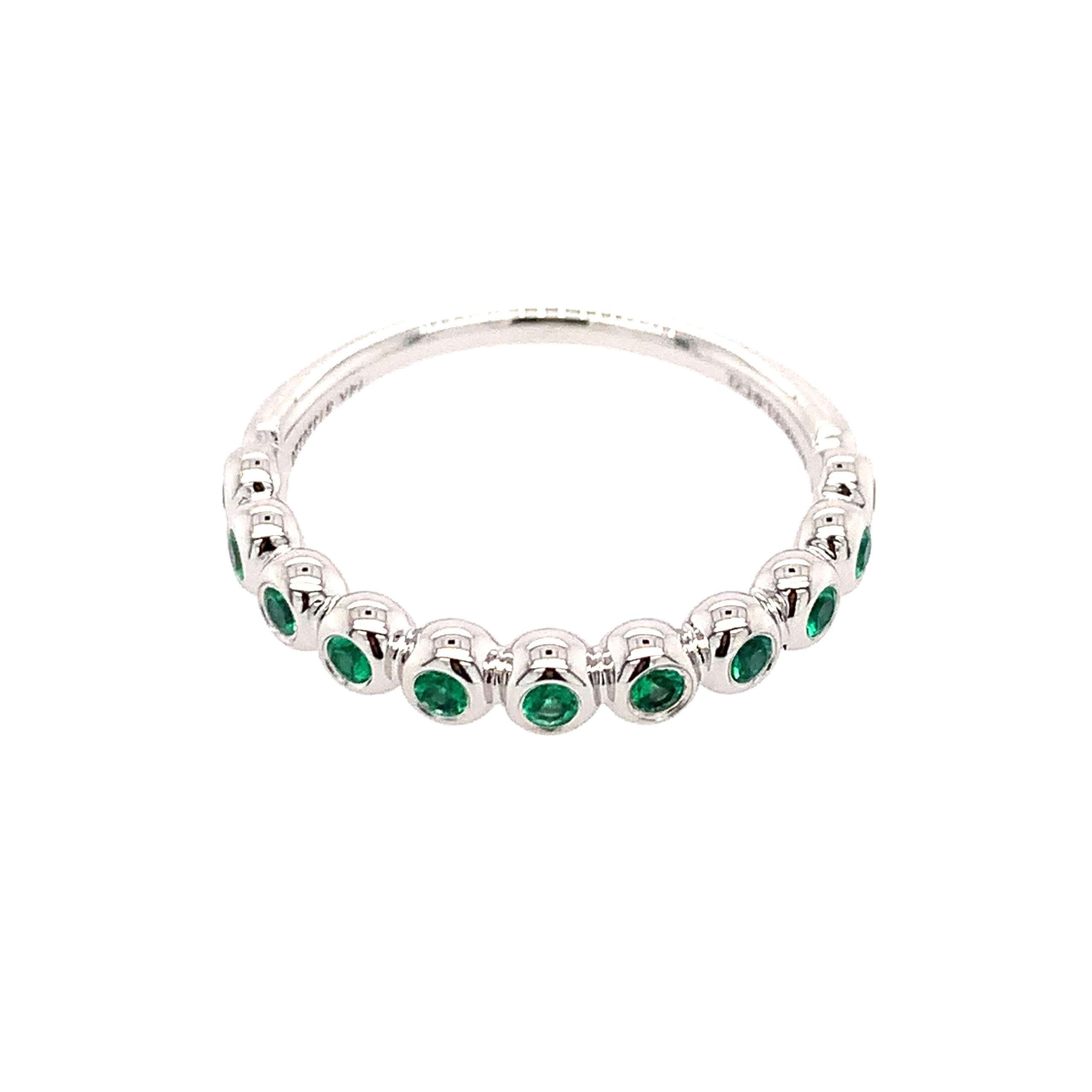 White Gold Emerald Stackable Ring