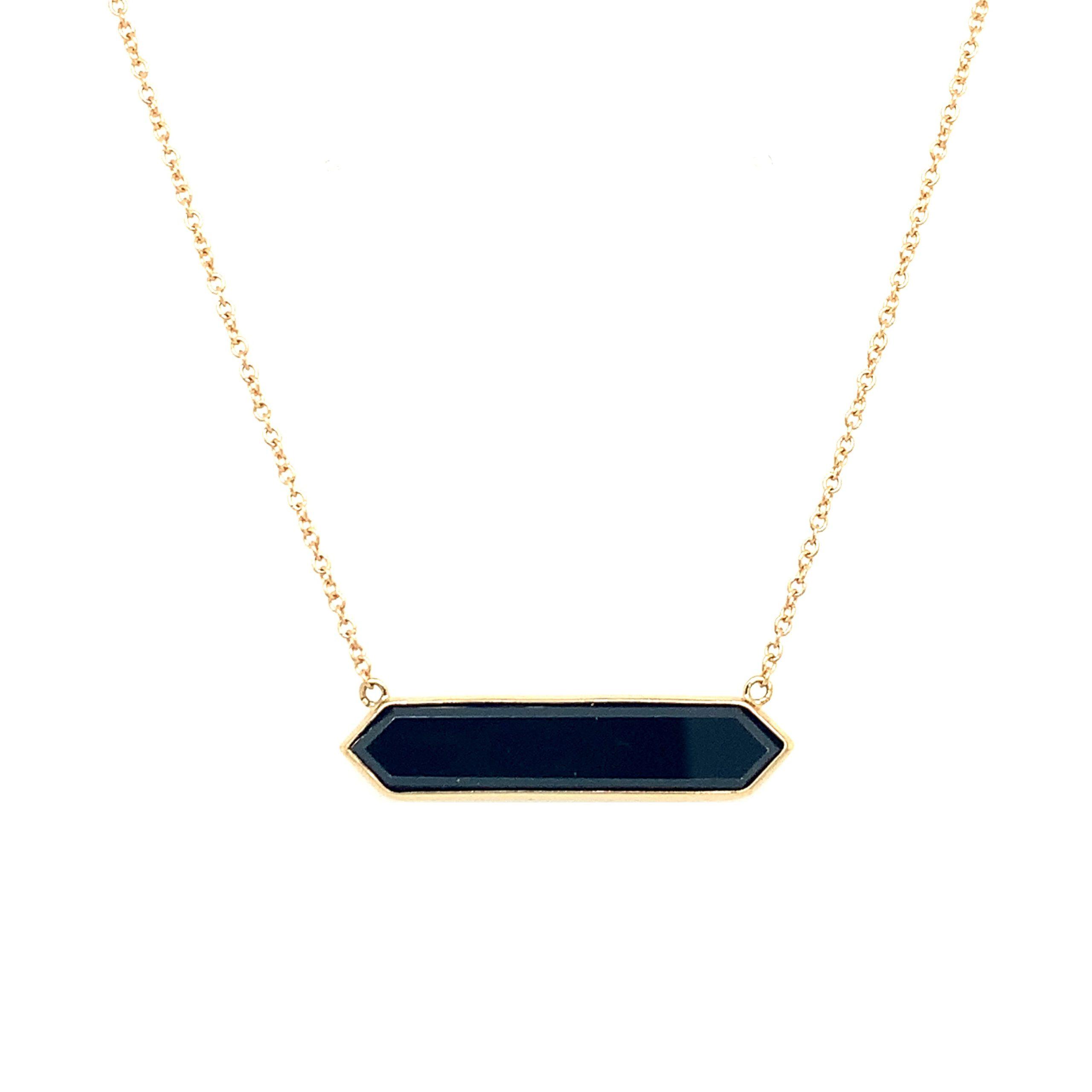 Yellow Gold Hexagonal Onyx Pendant Necklace