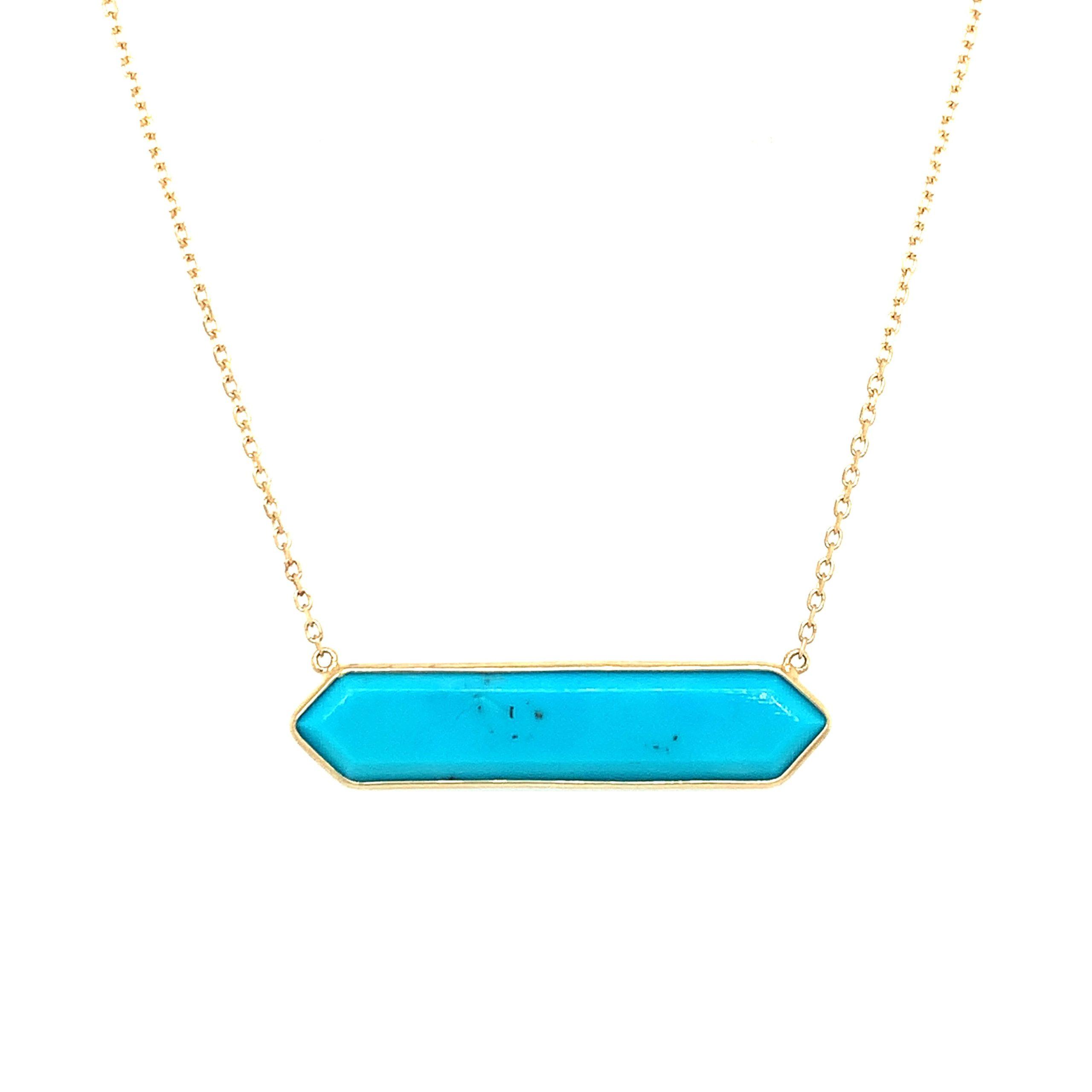 Yellow Gold Hexagonal Turquoise Pendant Necklace