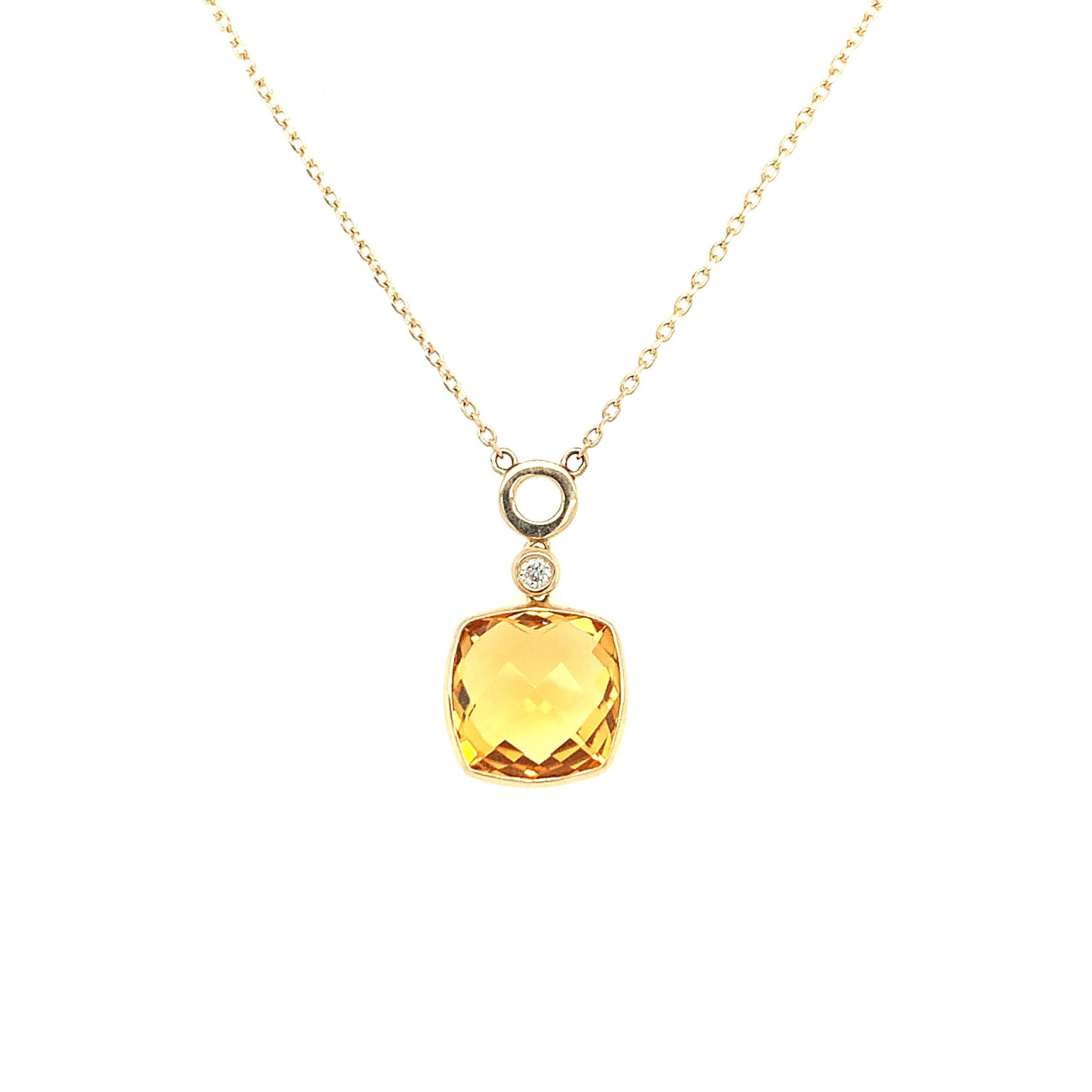 Yellow Gold Citrine Pendant Necklace