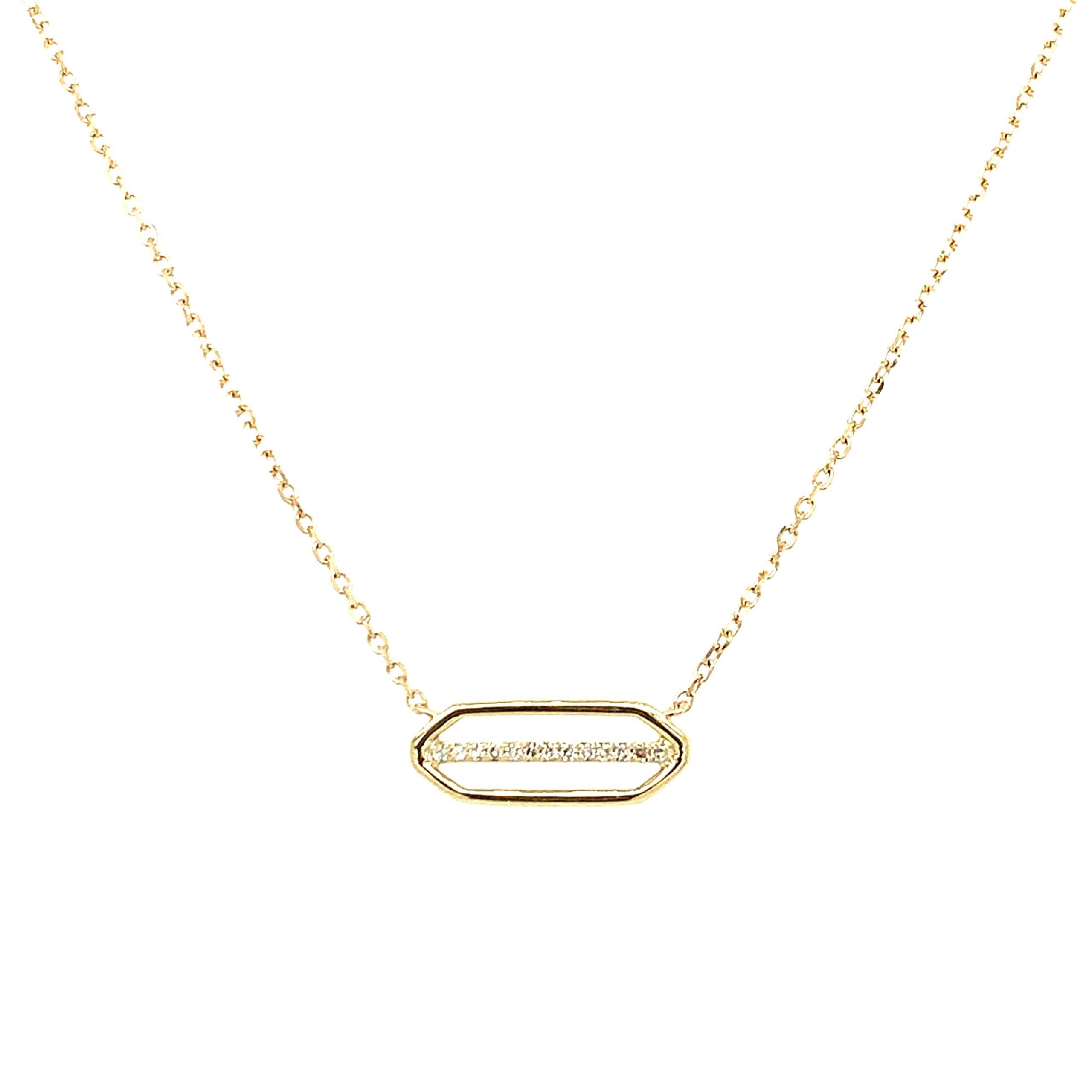 Yellow Gold Diamond Rectangle Pendant Necklace