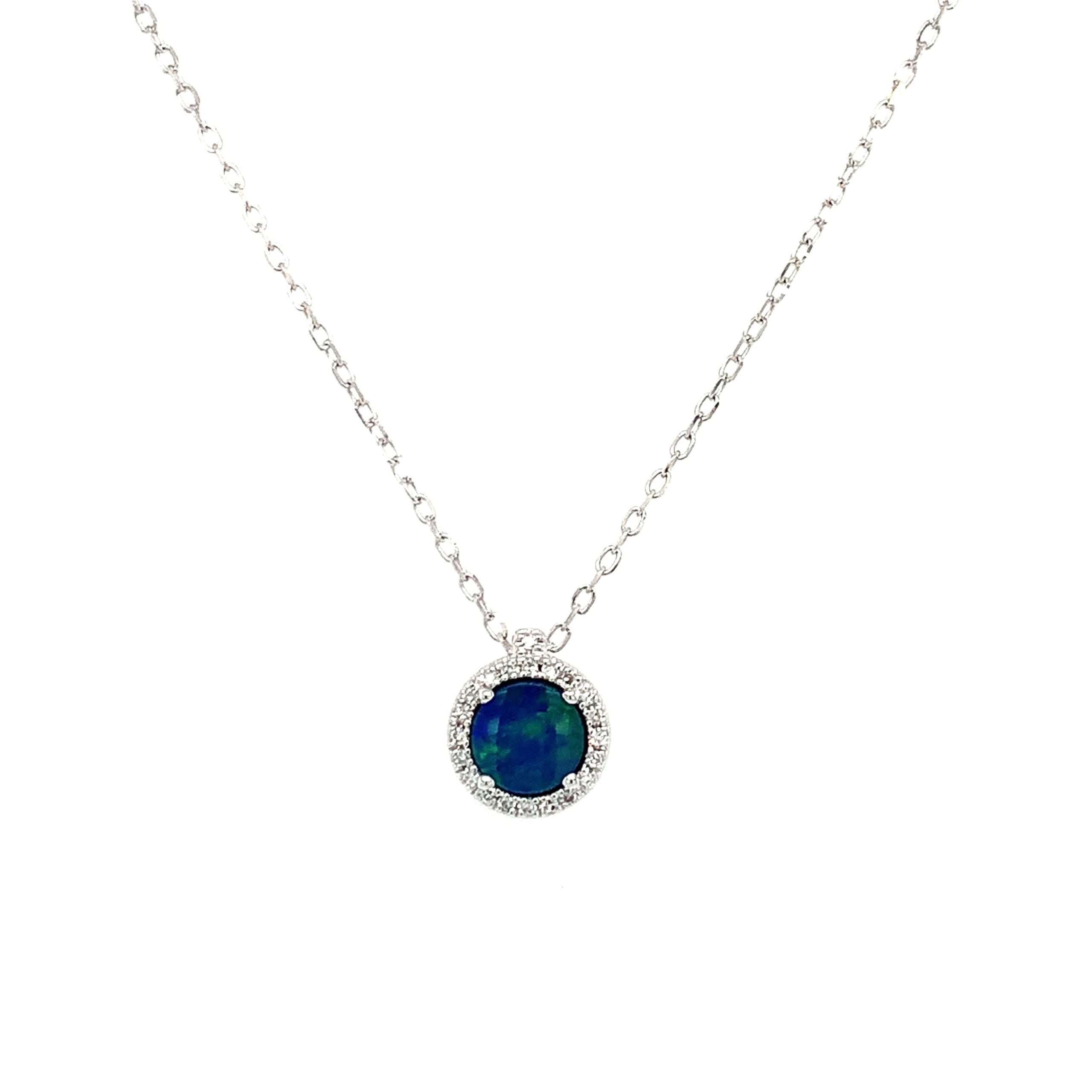 White Gold Opal Pendant Necklace
