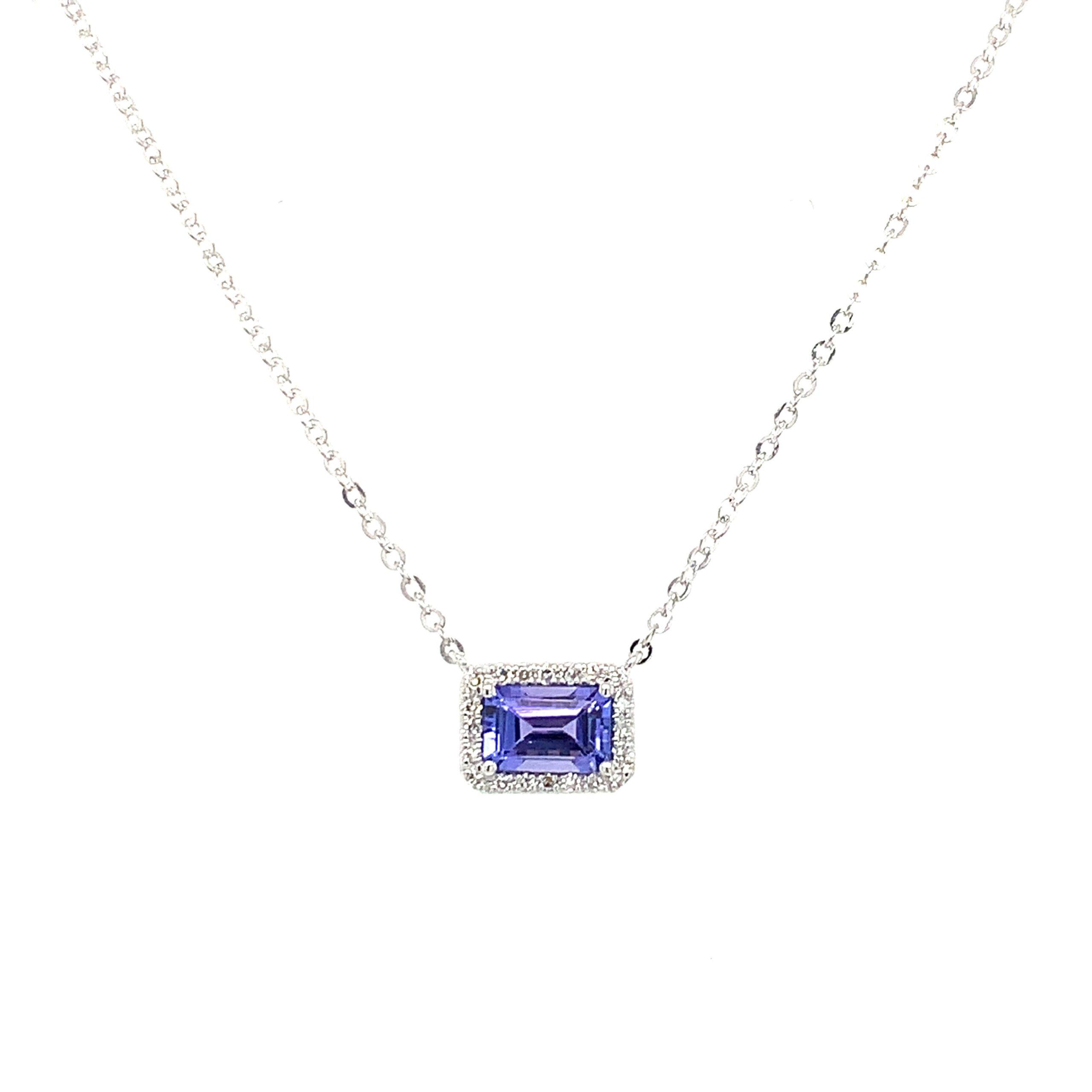 White Gold Tanzanite Pendant Necklace