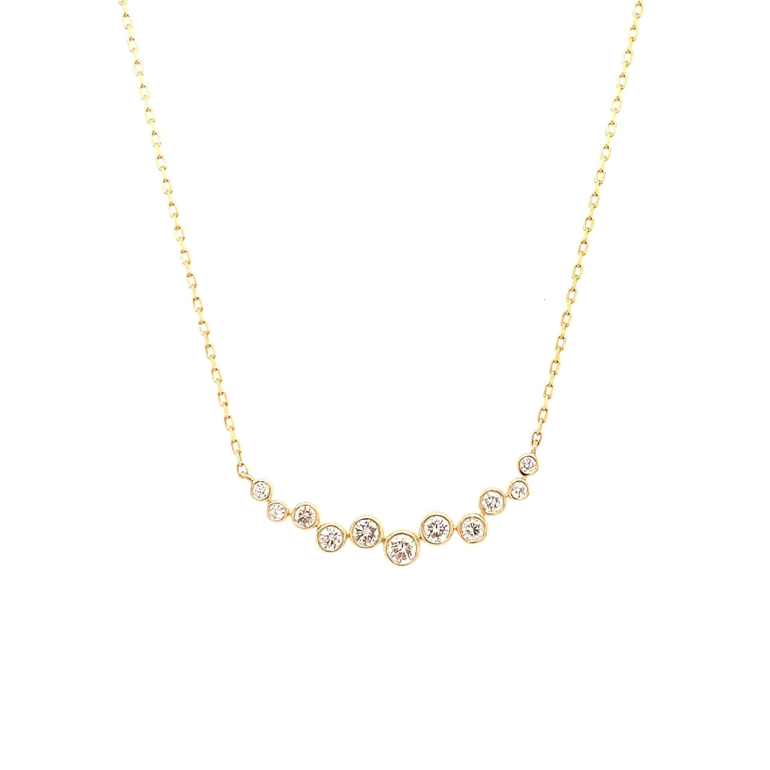 Yellow Gold Diamond Circles Pendant Necklace
