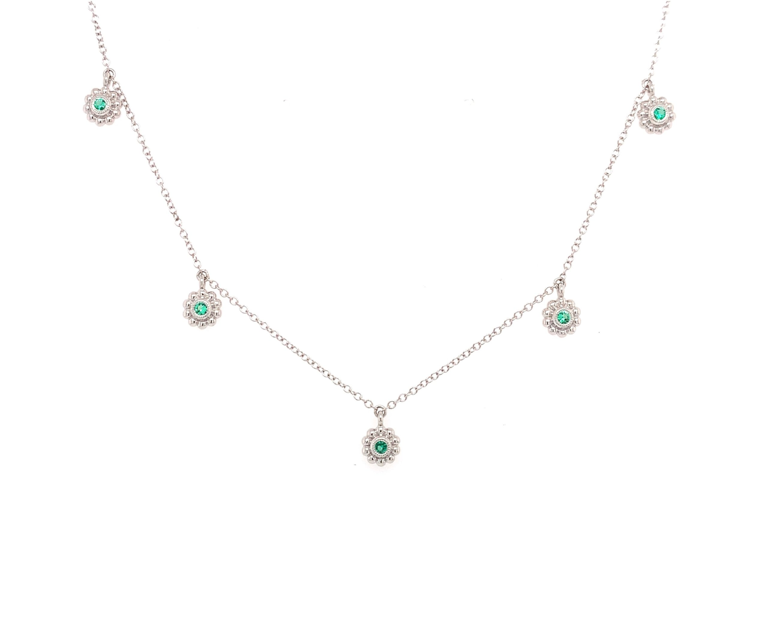 White Gold Emerald Station Necklace