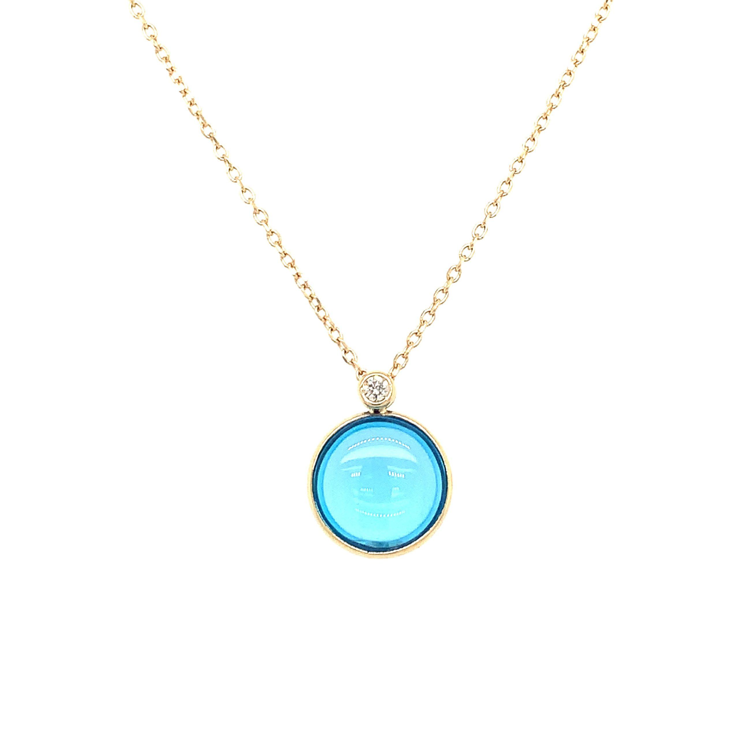 Yellow Gold Blue Topaz Pendant Necklace