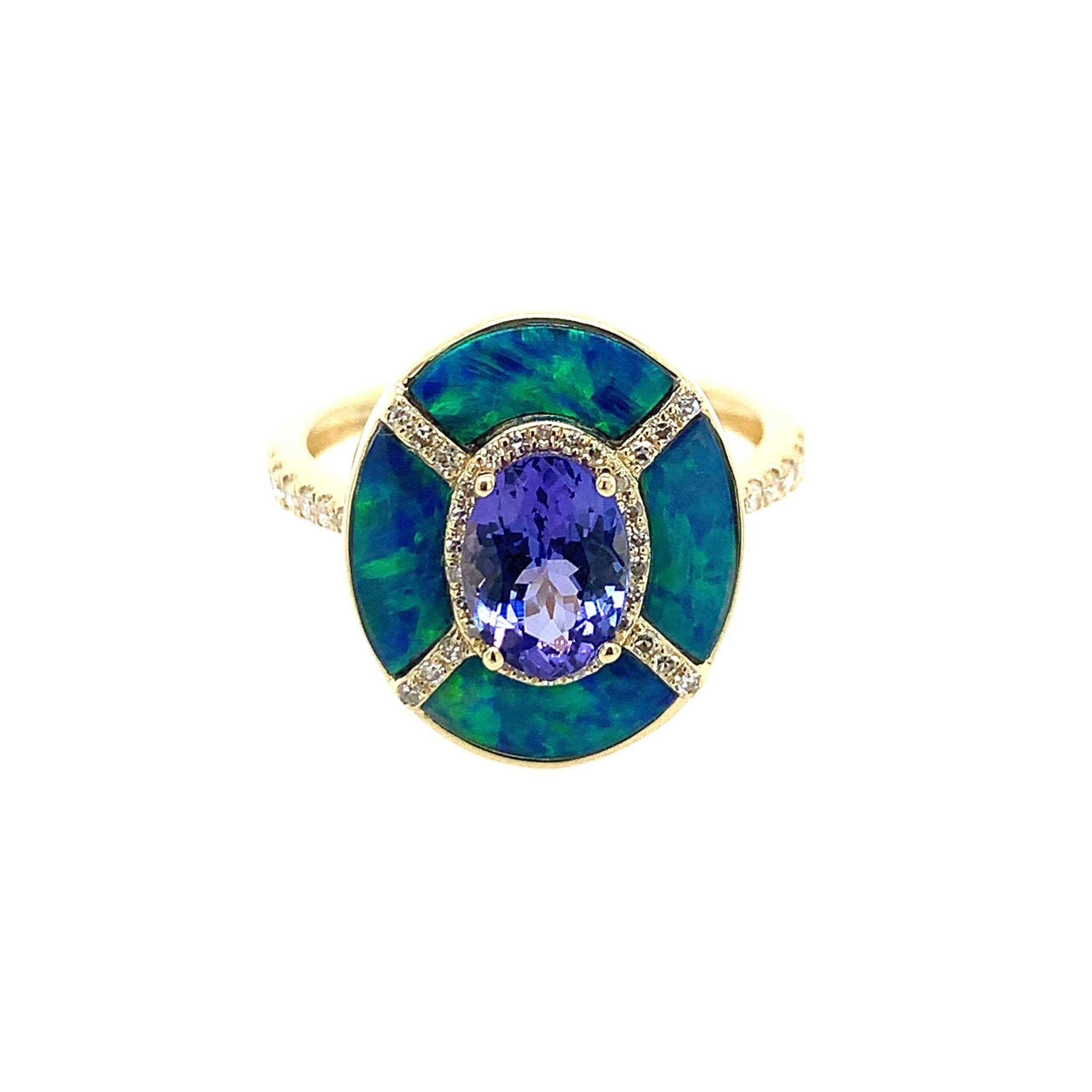 Yellow Gold Tanzanite & Opal Ring