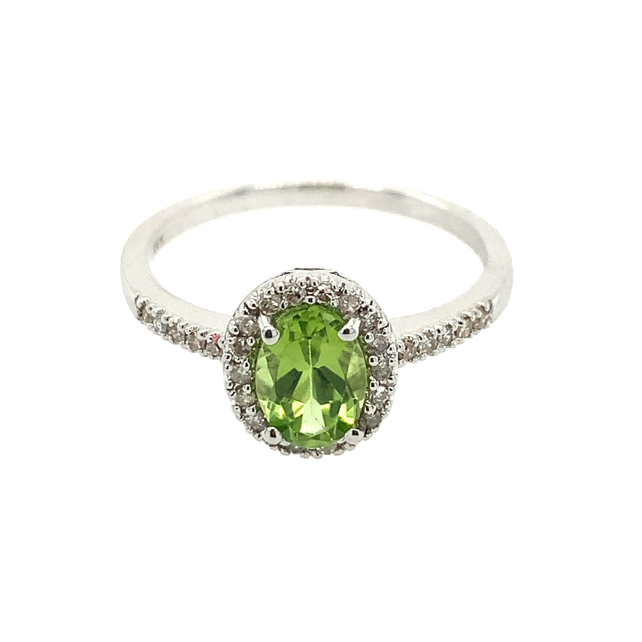 White Gold Peridot Ring