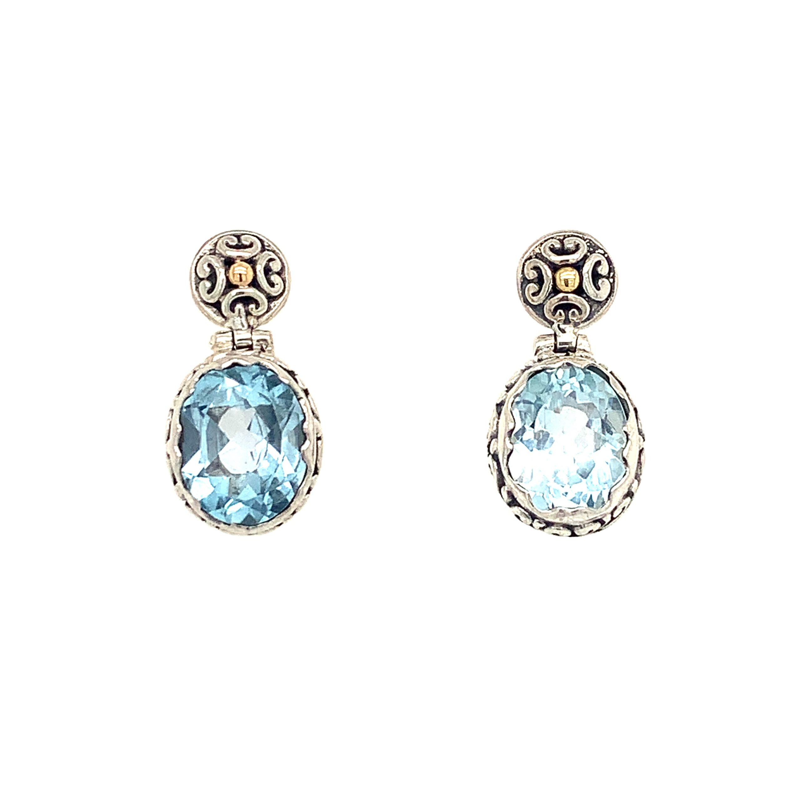 Sterling Silver & Yellow Gold Blue Topaz Earrings