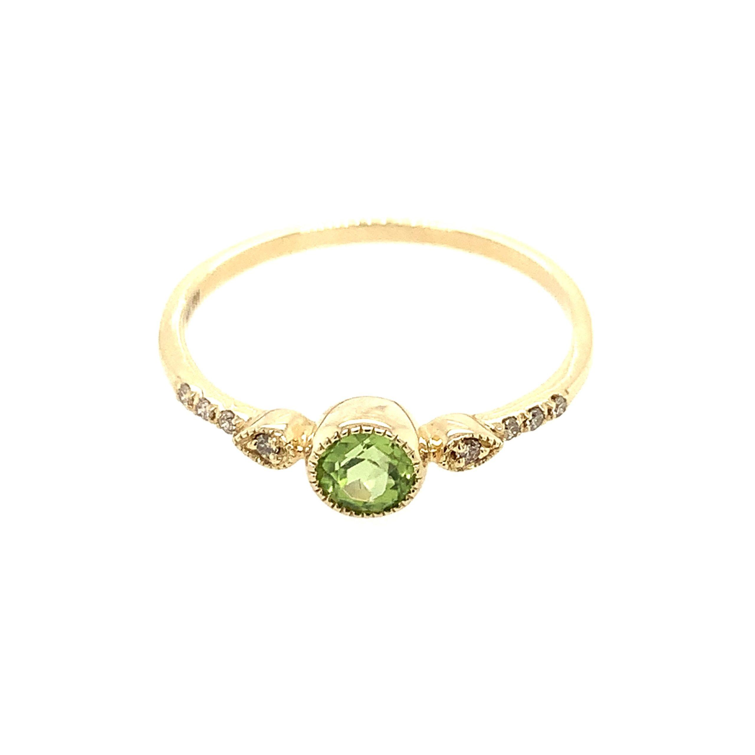 Yellow Gold Peridot Stackable Ring