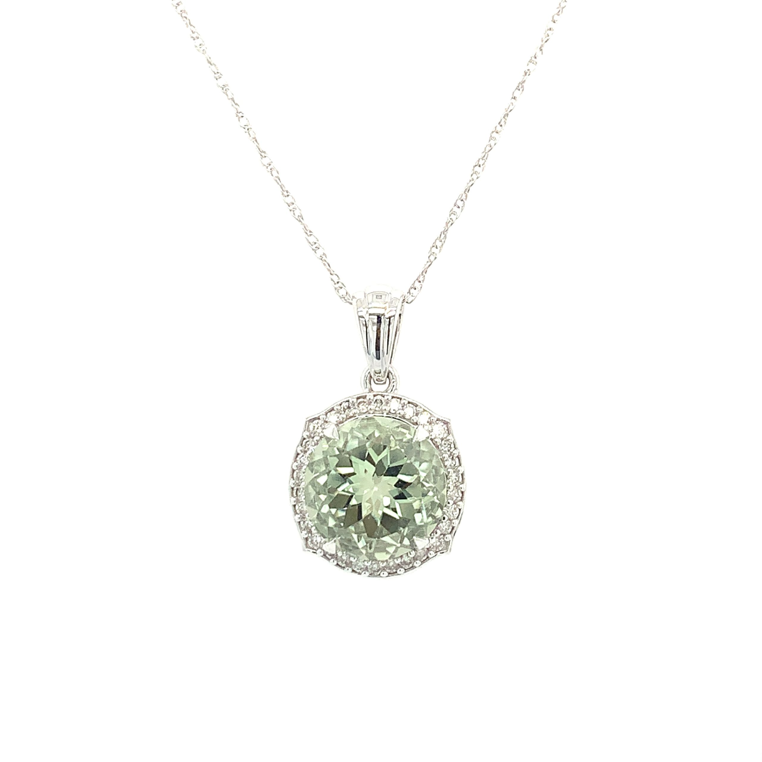 White Gold Green Amethyst Pendant Necklace