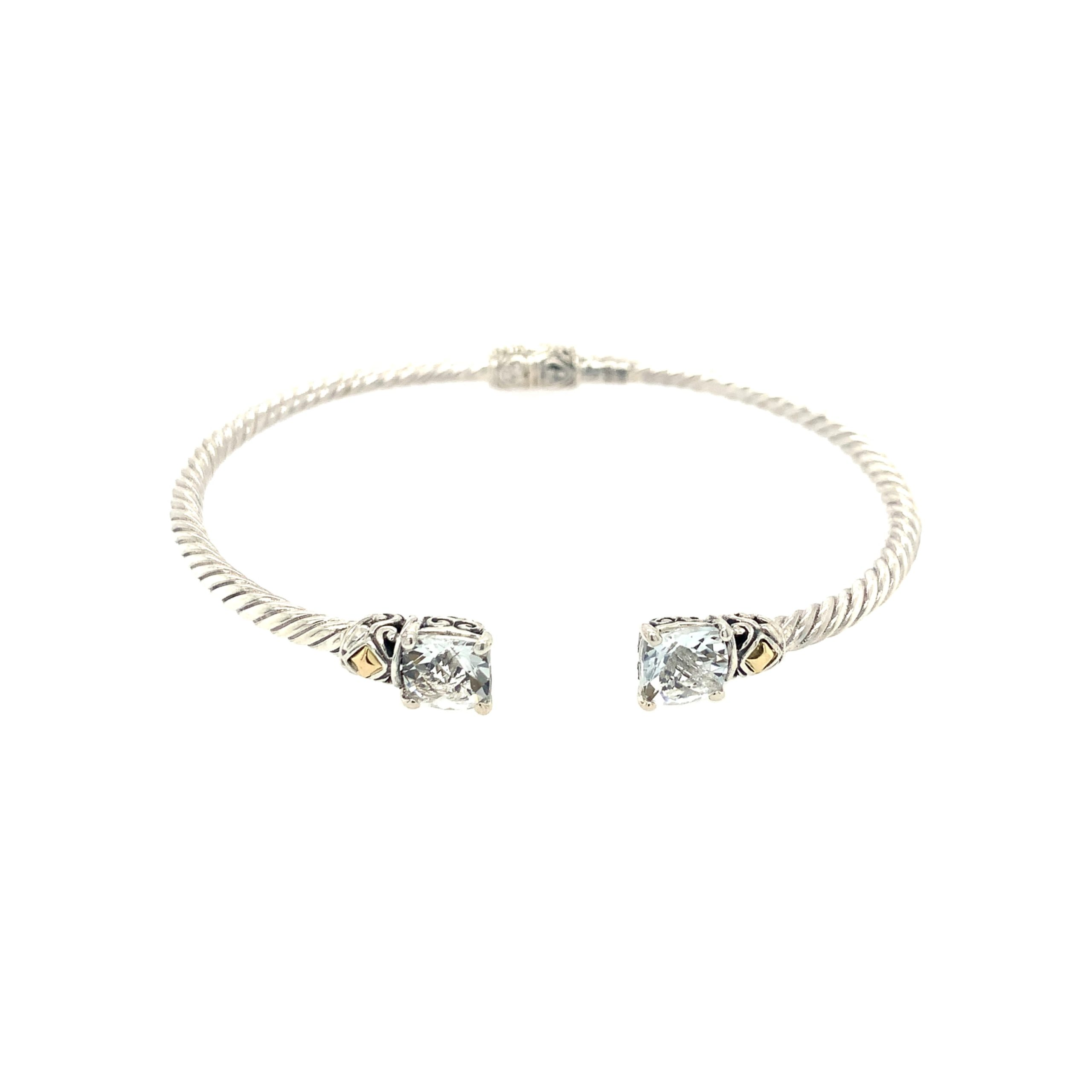Sterling Silver & Yellow Gold White Topaz Bangle