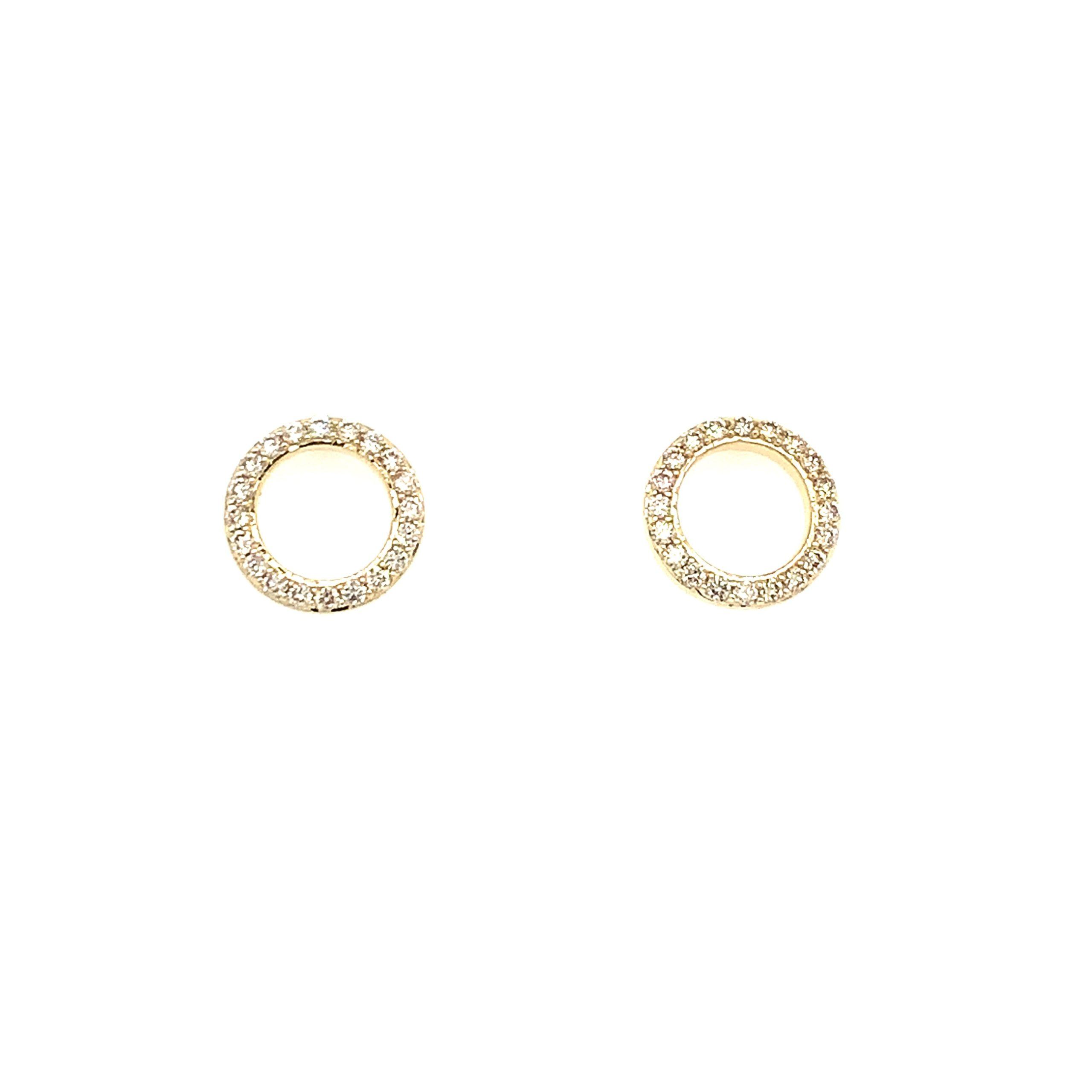 Yellow Gold Diamond Circle Earrings