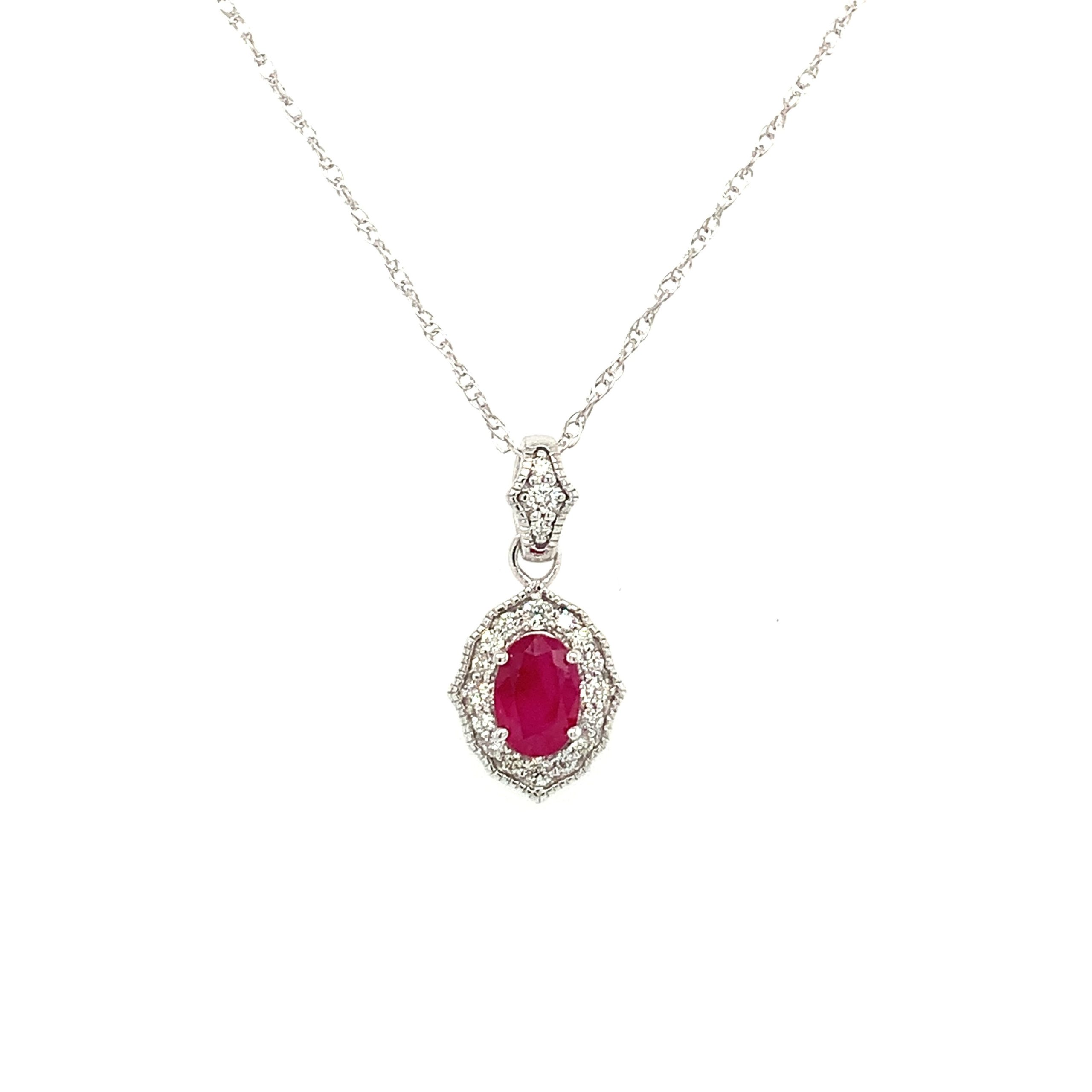 White Gold Ruby Pendant Necklace