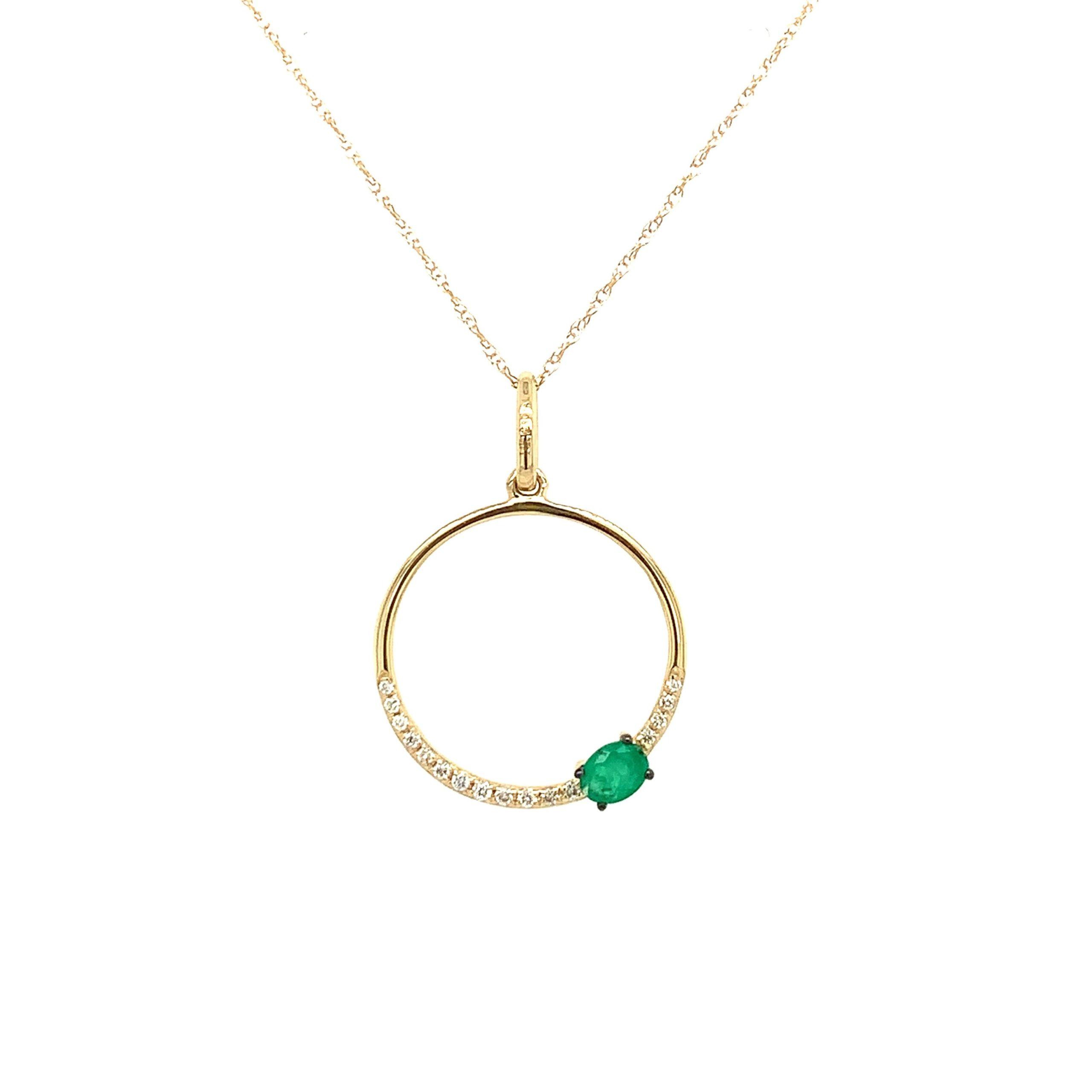 Yellow Gold Emerald Circle Pendant Necklace