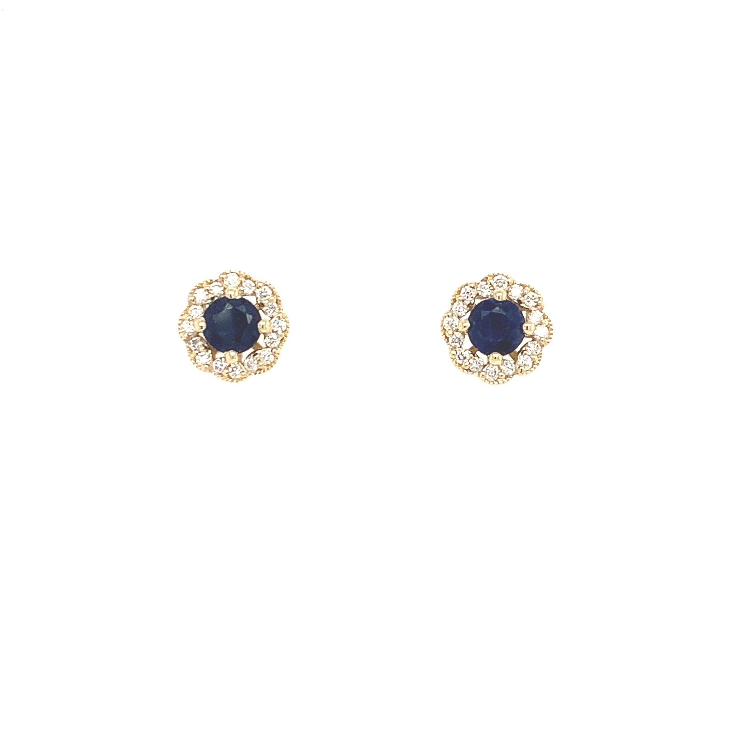 Yellow Gold Sapphire Post Earrings
